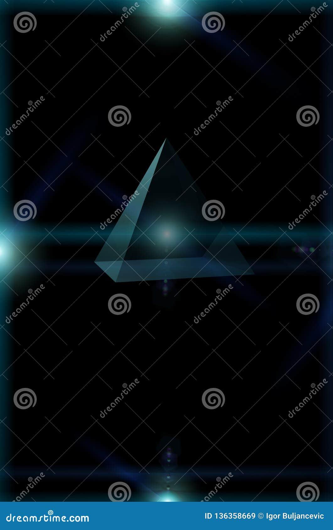 3D driehoek die die in open plek, driehoek vliegen door sterlichten wordt omringd, zonne-energievoeding