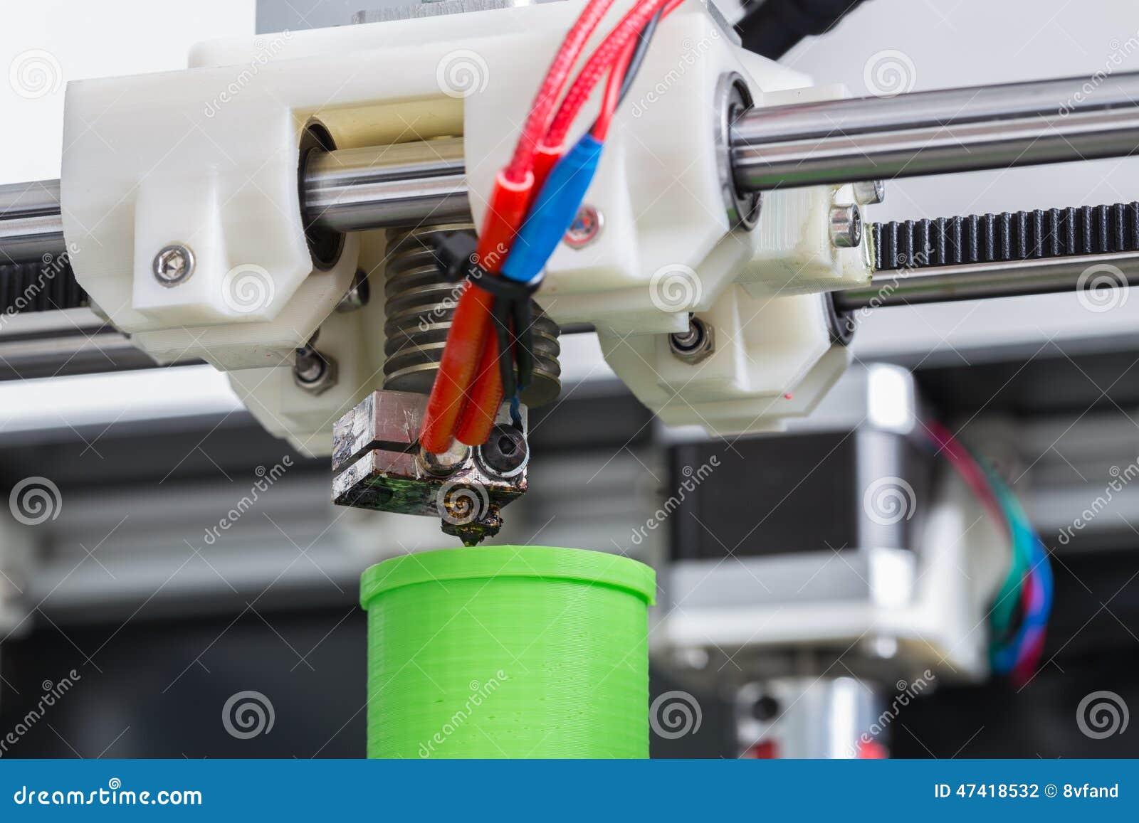 3d drukarka z jaskrawym - zielony drucik