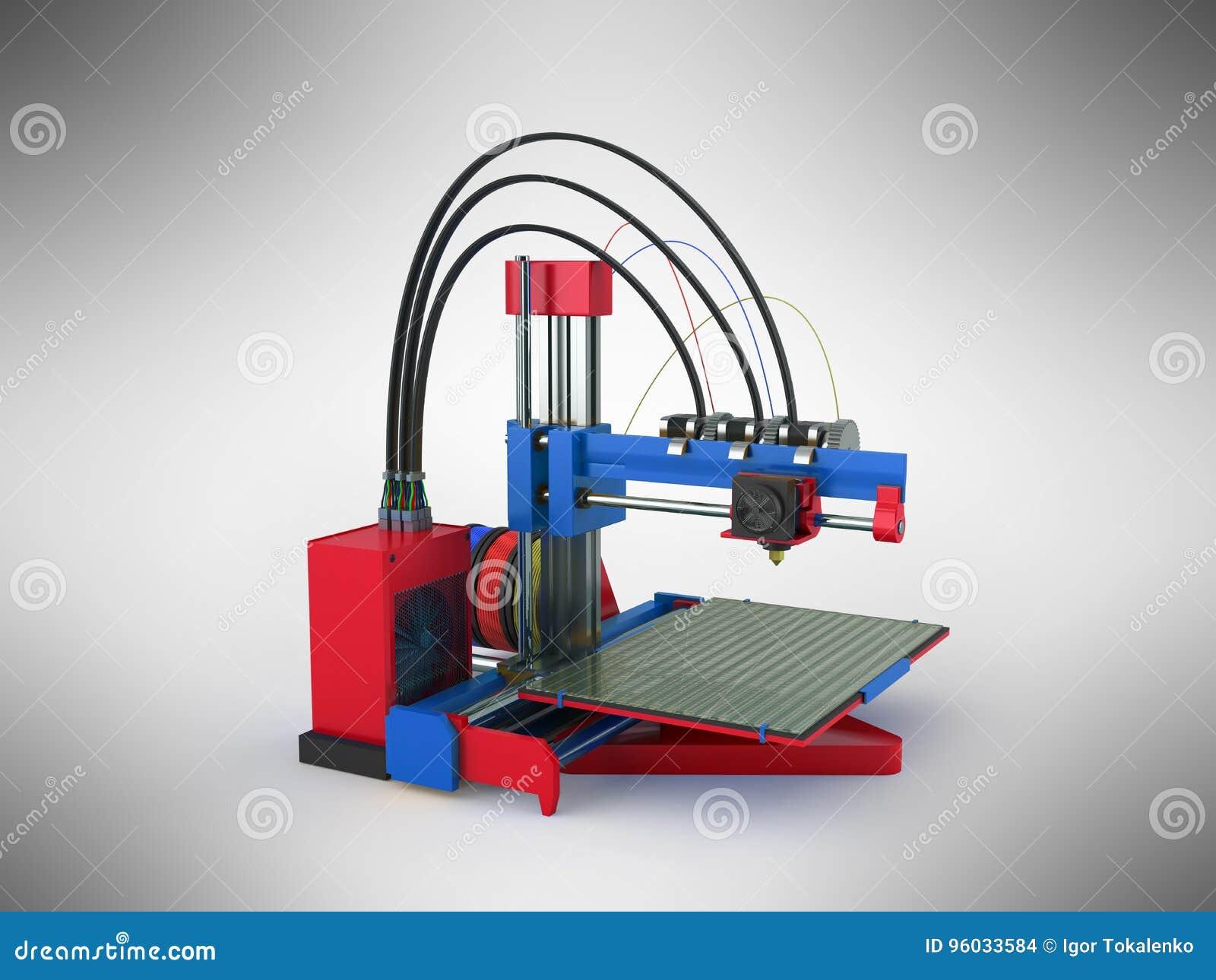 3d drukarki błękita 3d czerwony rendering na szarym tle