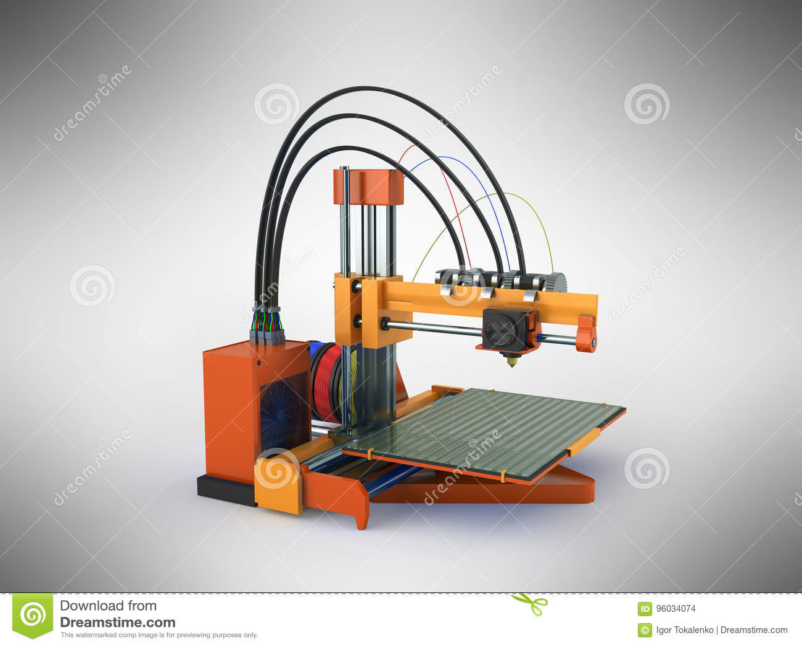 3d drukarki pomarańcze 3d czerwony rendering na szarym tle