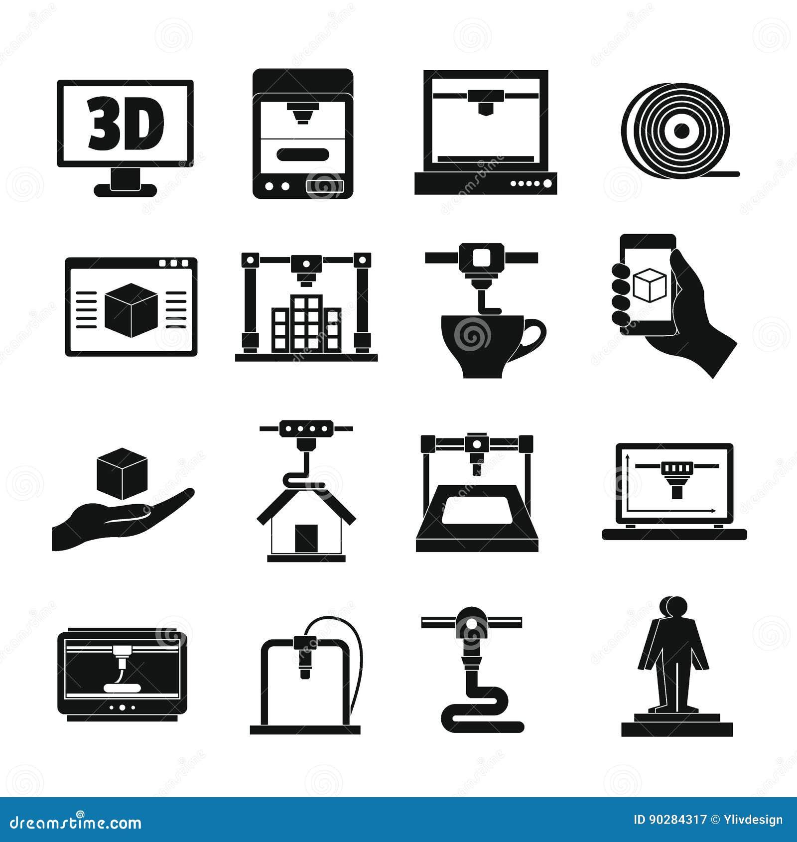 3D Drukowe ikony ustawiać, prosty styl