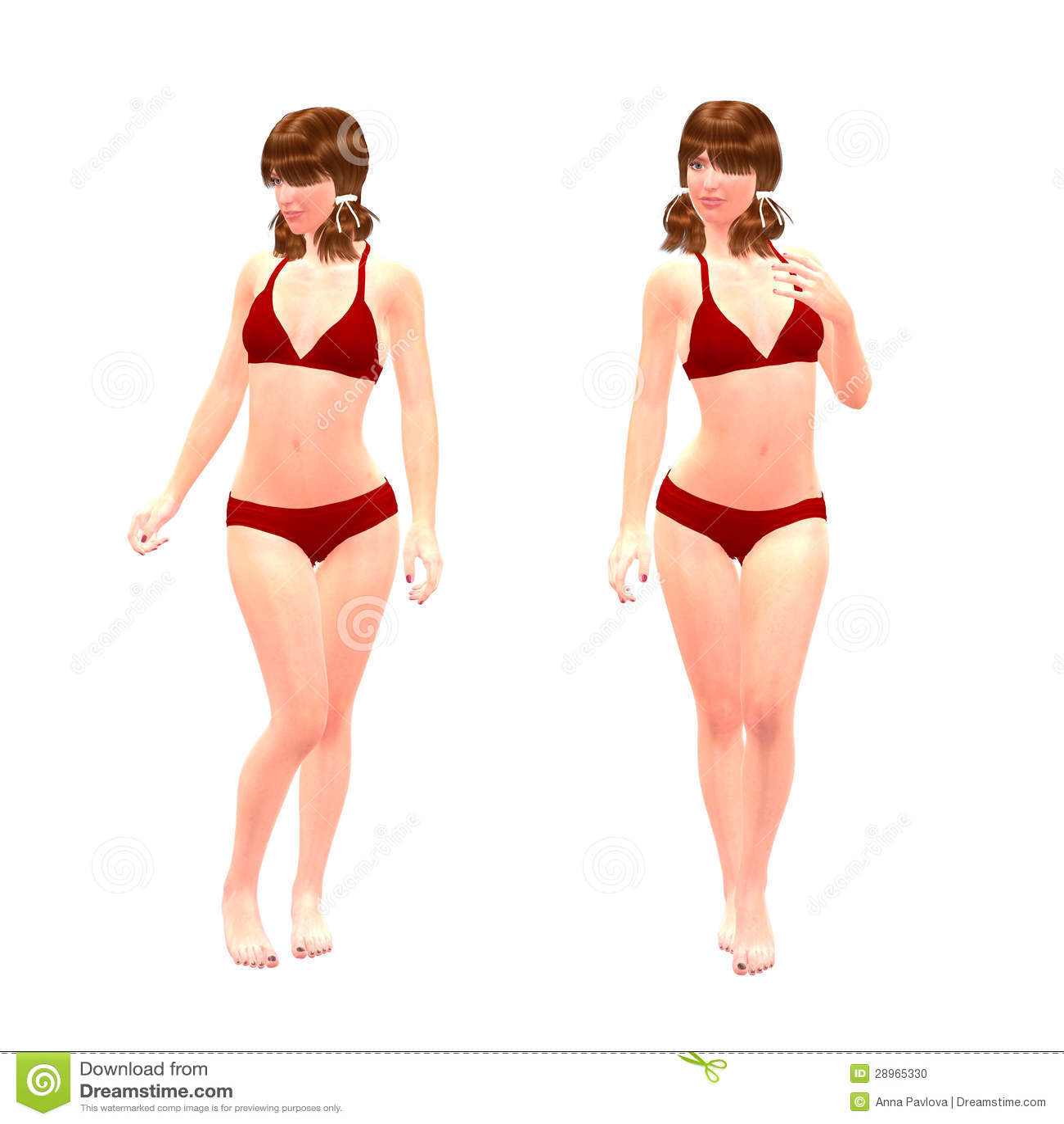 3d dziewczyna w czerwonym bikini