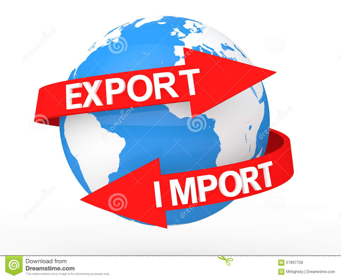 3d Earth Globe With Import Export Arrows Stock Illustration ...
