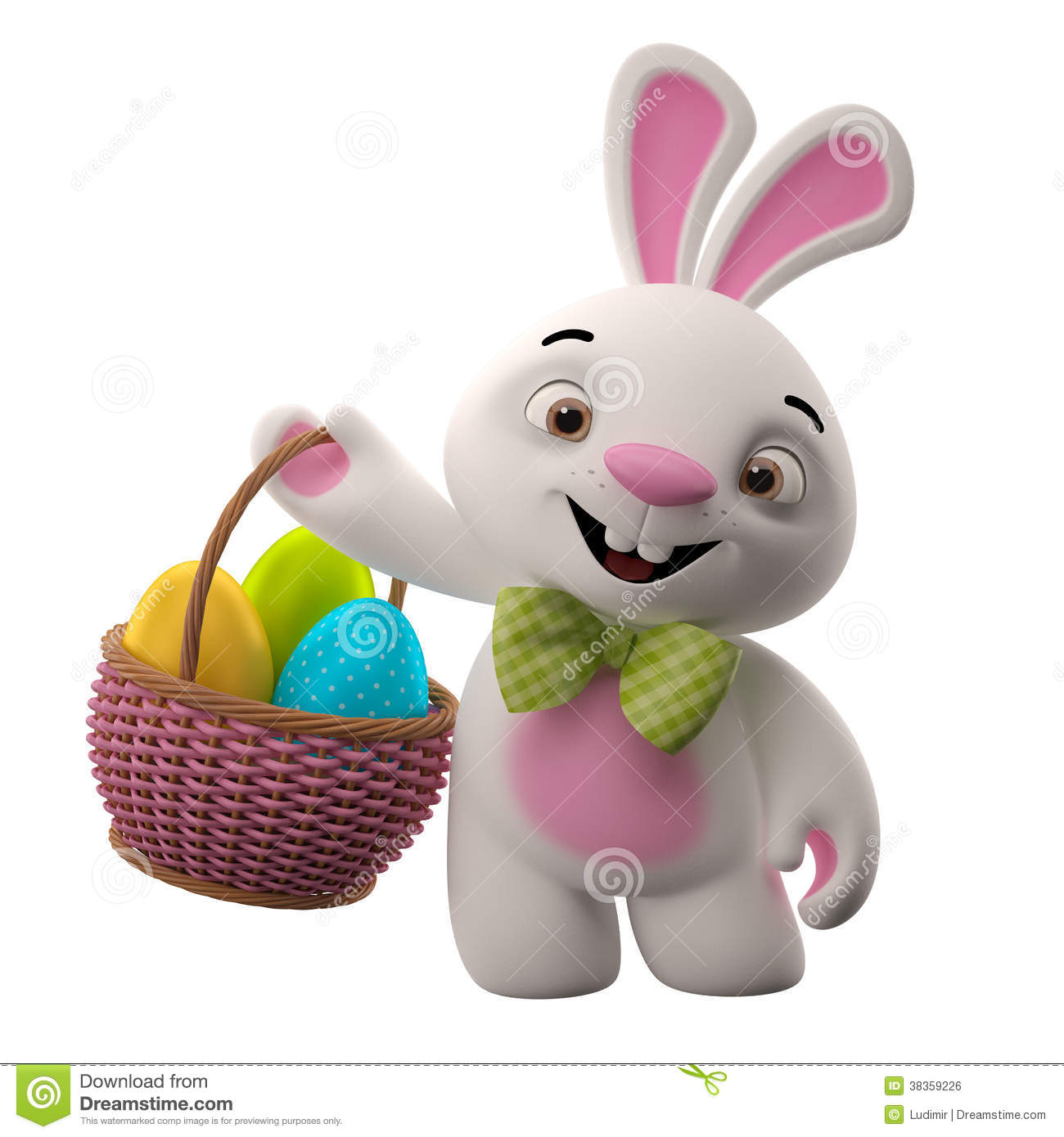 3d Easter Bunny  Merry Cartoon Rabbit  Animal Character