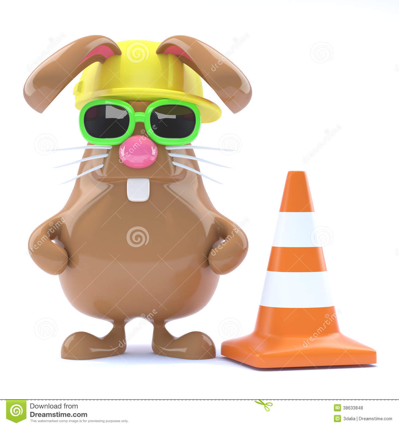 3d Easter Bunny Road Works Royalty Free Stock Photos ... Traffic Cone On Road