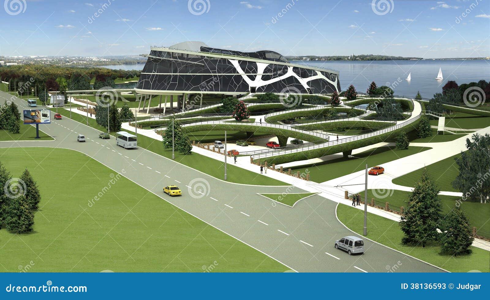 3D eco大厦的形象化与利用仿生学的形式和省能源的技术的。