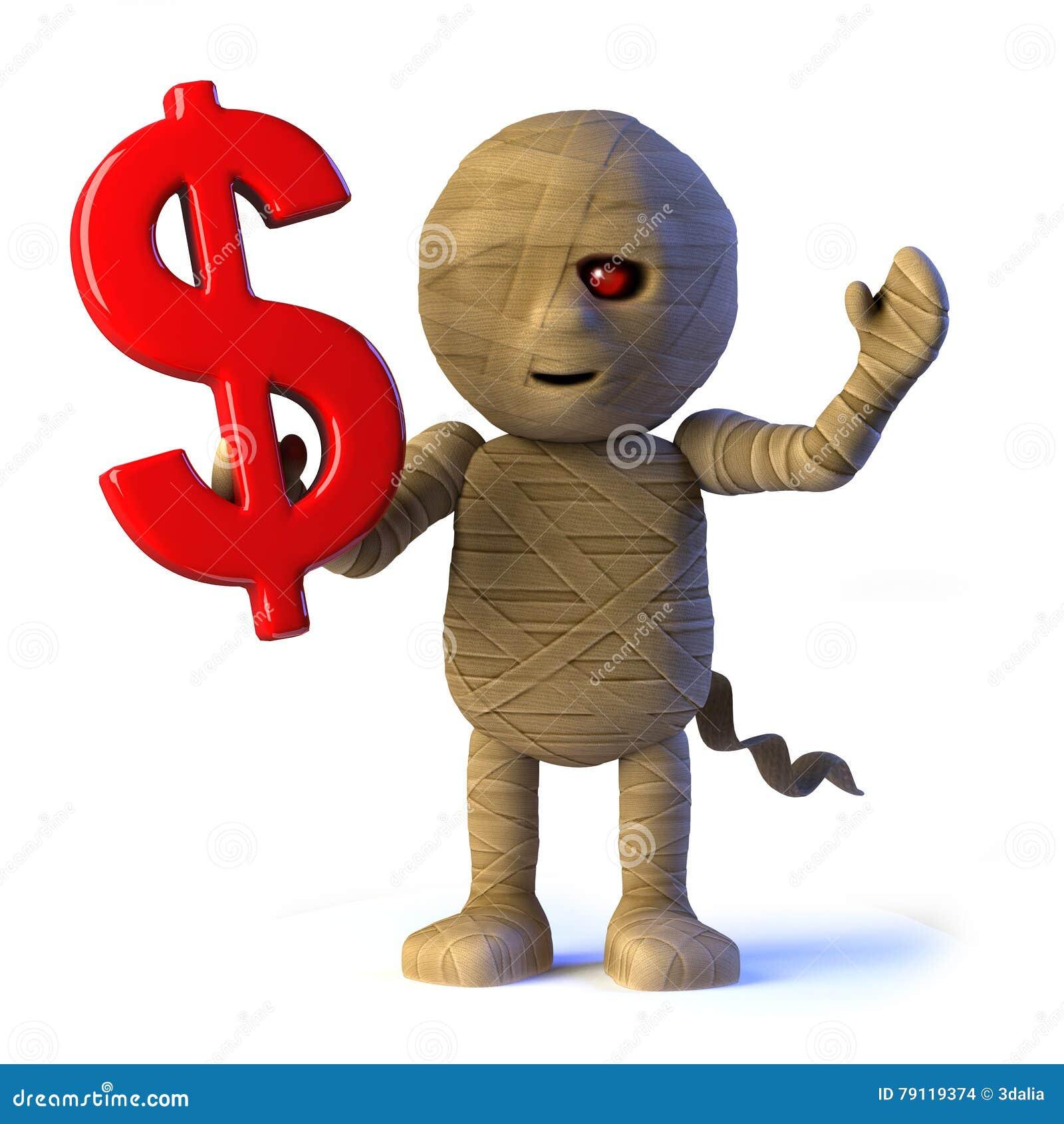 3d Egyptian Mummy Monster Has Us Dollar Symbol Stock Illustration