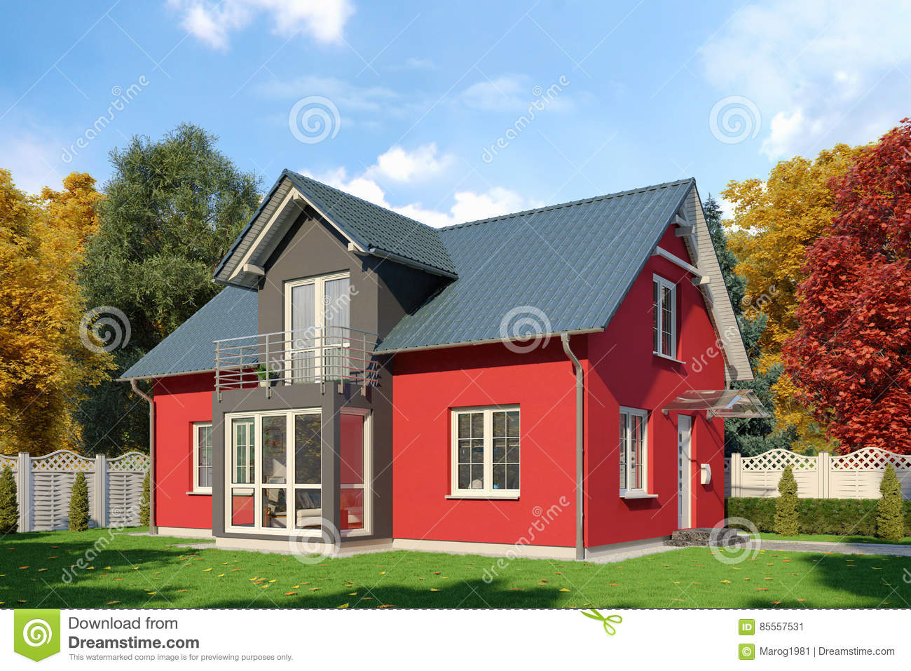 3d - Einfamilien- haus- Herbst - Tag