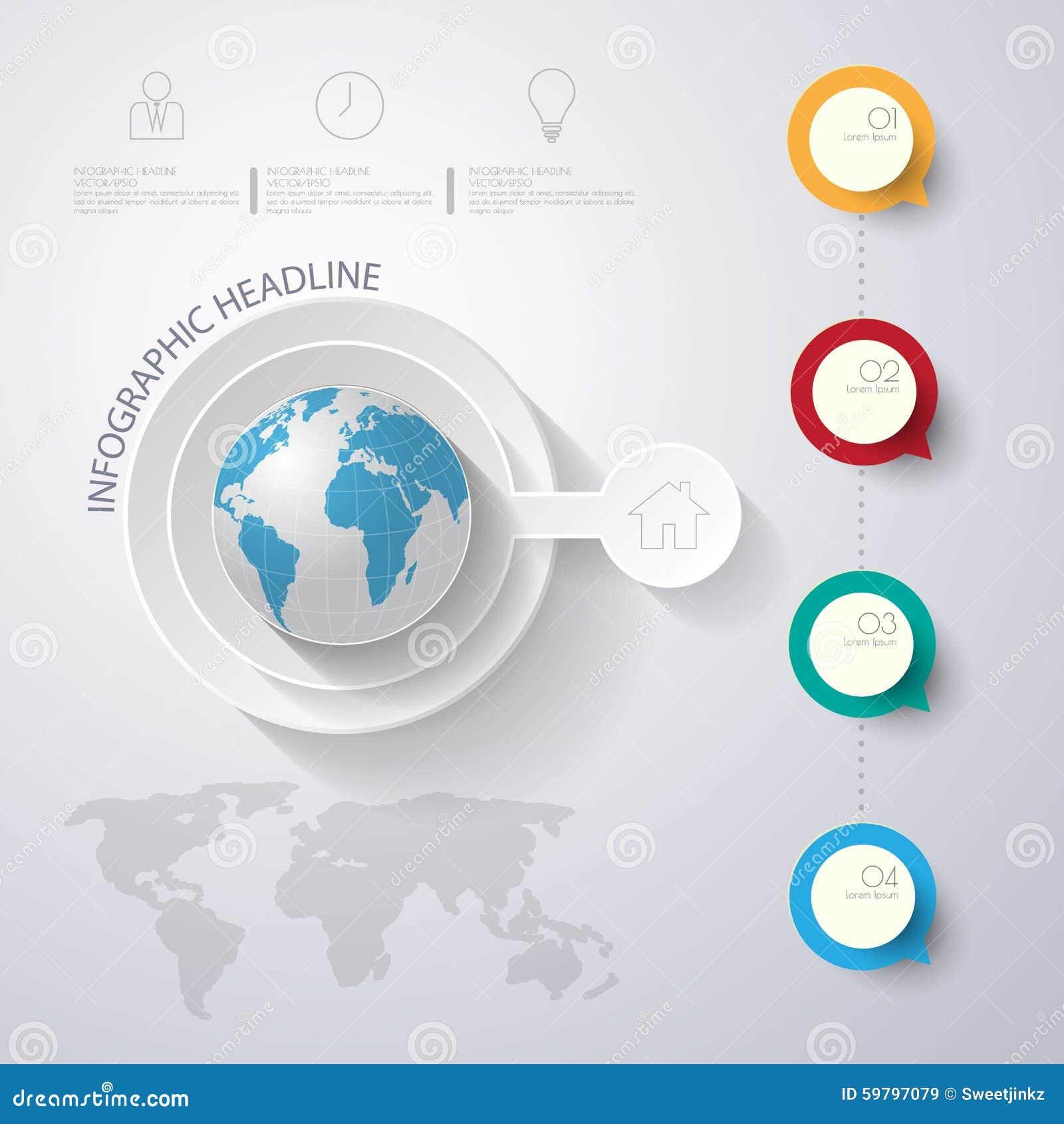 3D ejemplo digital abstracto Infographic con el mapa del mundo lata