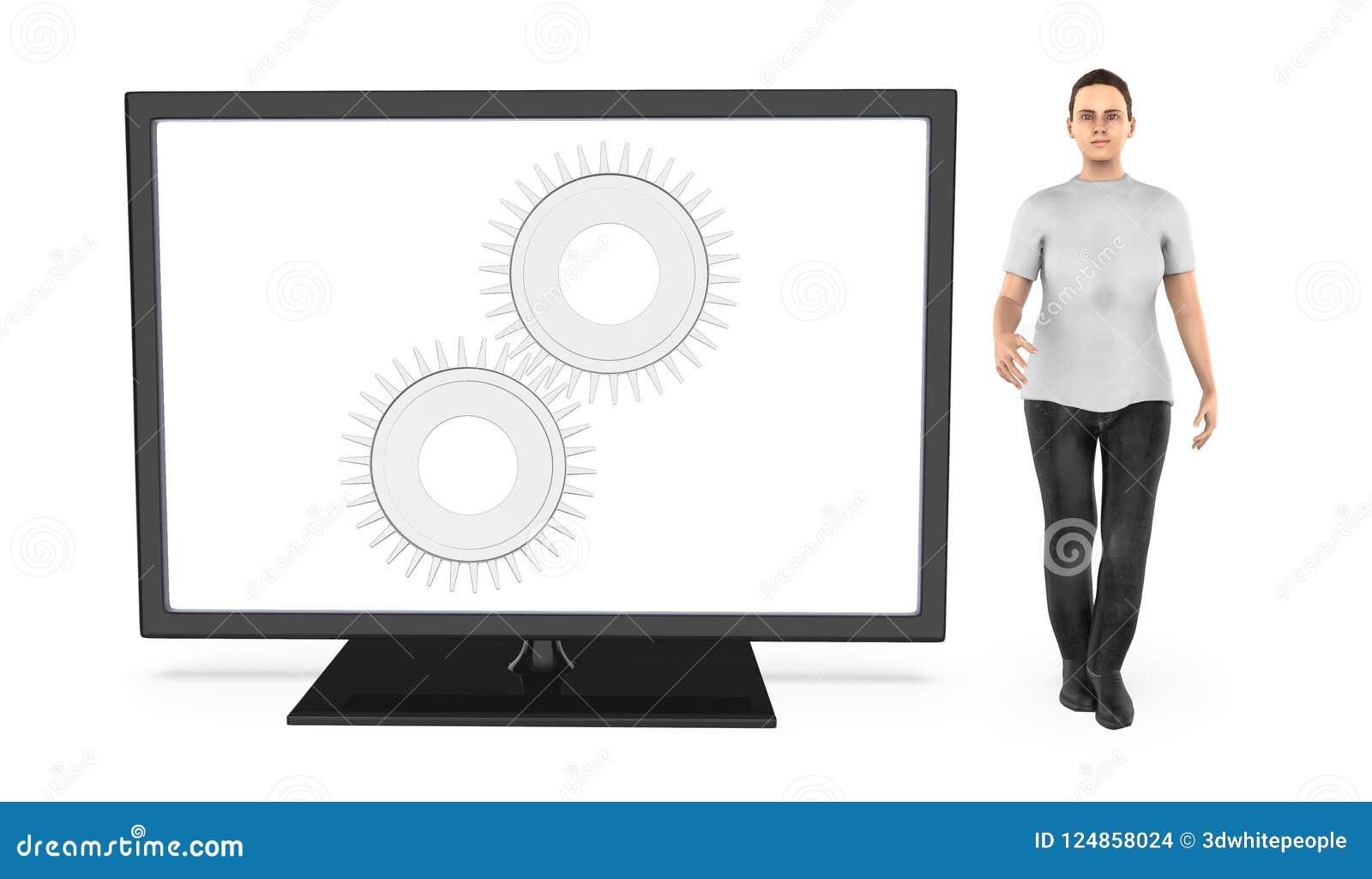 3d el carácter, mujer que coloca cerca de una pantalla de monitor con la rueda dentada en él pellizco, ajusta, los ajustes
