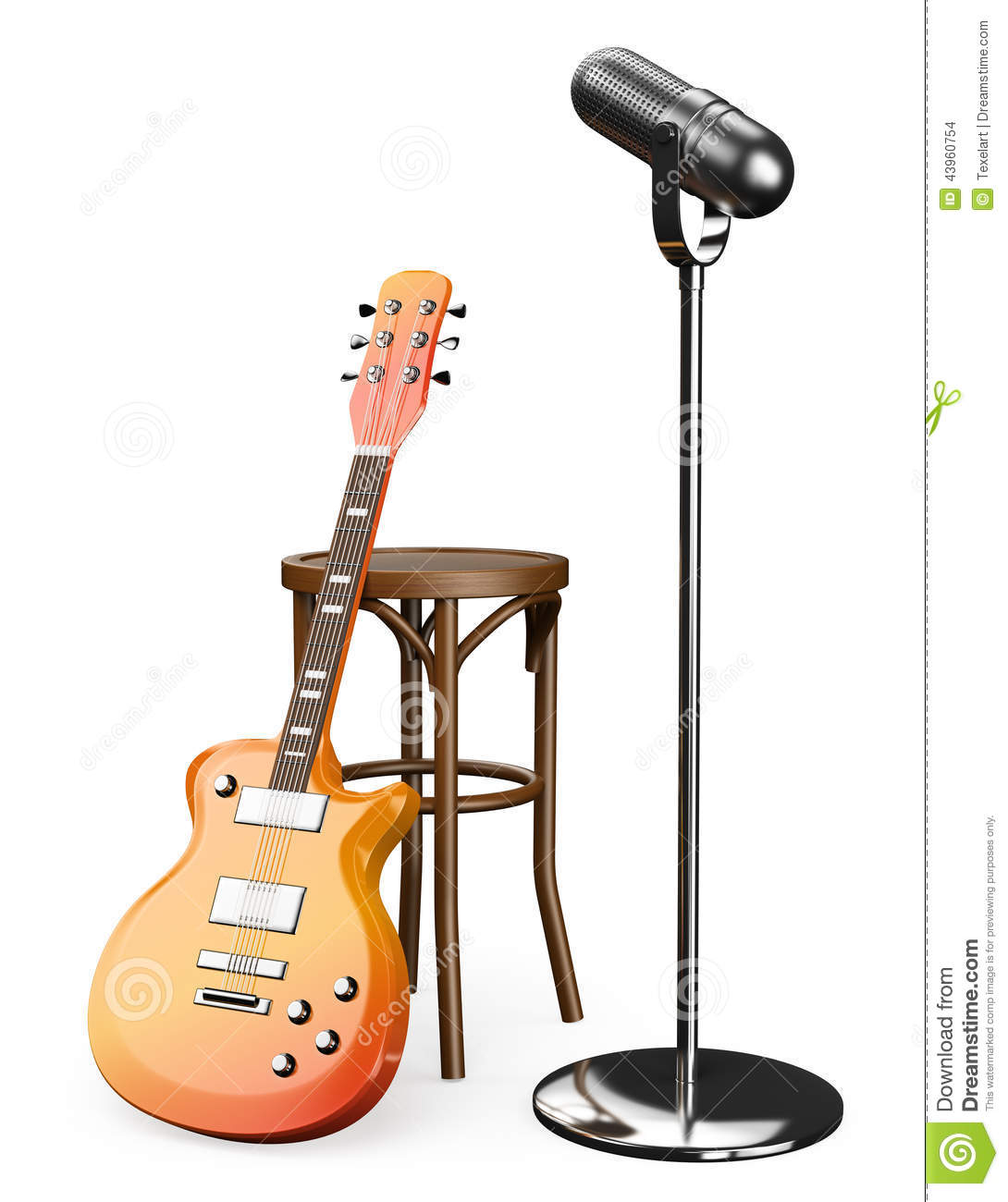 3D Electric Guitar Stool And Microphone Stock Illustration  : d electric guitar stool microphone white background 43960754 from www.dreamstime.com size 1090 x 1300 jpeg 104kB