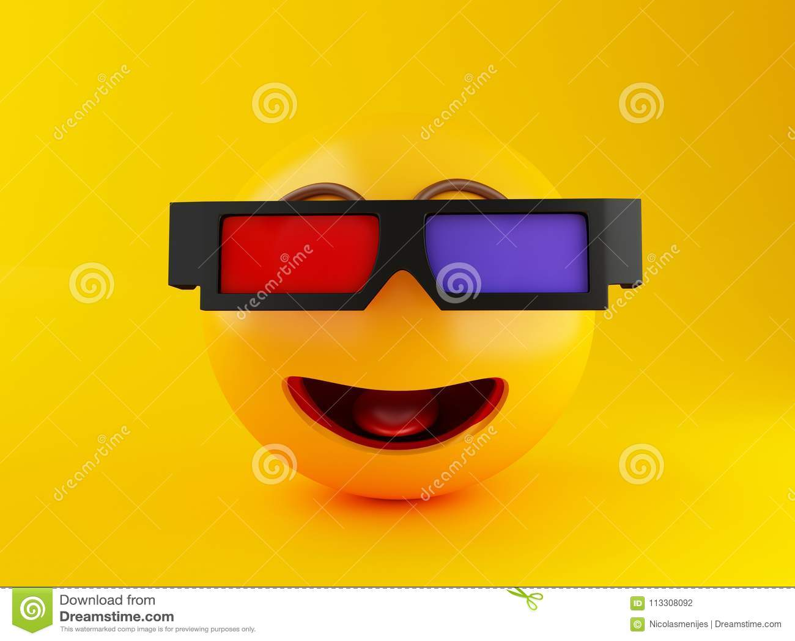 rivenditore online stati Uniti outlet 3d Emoji Con Gli Occhiali 3d Concetto Del Cinema ...