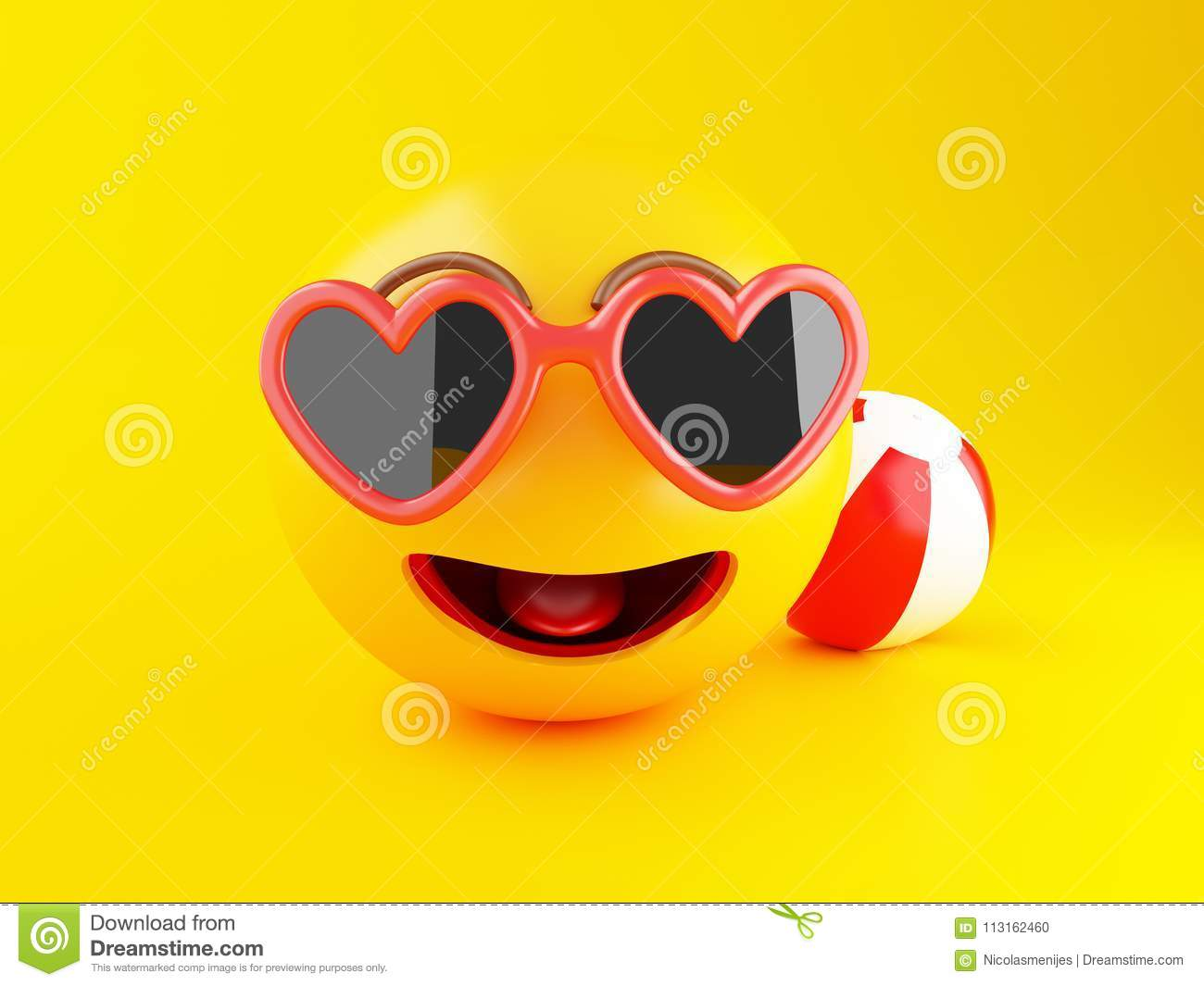 3d Emoji With Sunglasses. Summer Vacation Concept. Stock ...