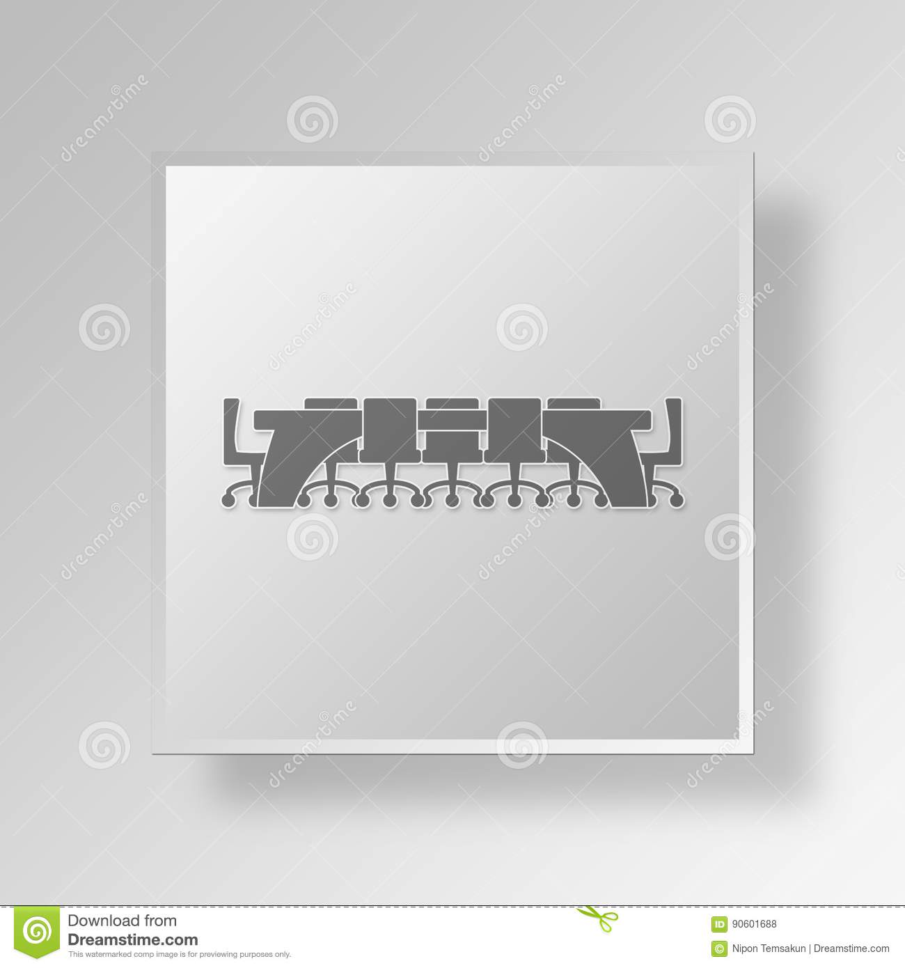 3d Empty Business Room Icon Business Concept Stock Illustration