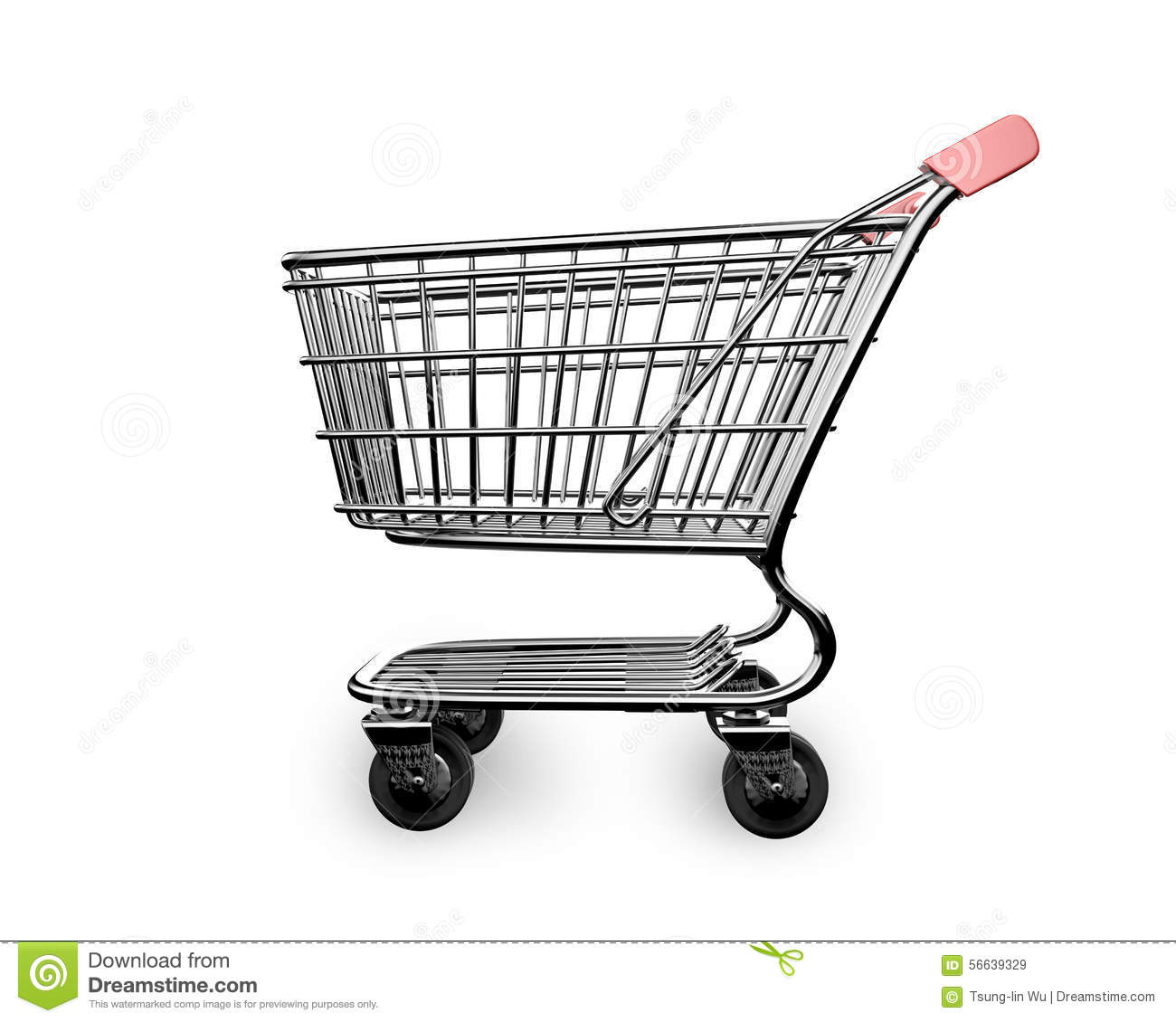 3d empty shopping cart side view stock illustration illustration