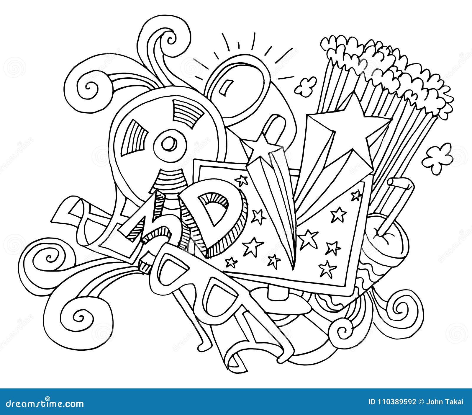 3d entertainment tv media movie drawing stock vector illustration