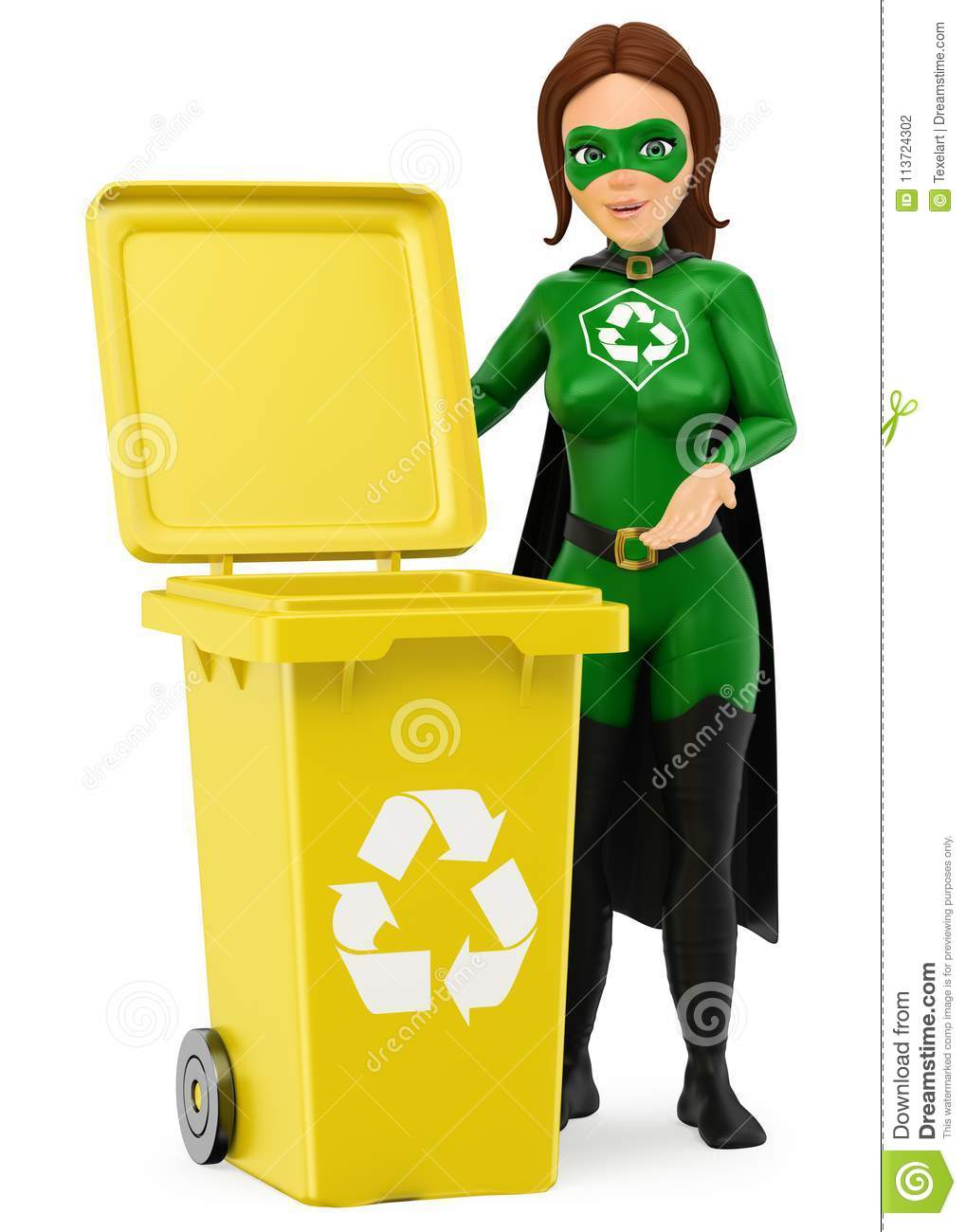 3D Woman Superhero Of Recycling Standing With A Yellow Bin For R ...