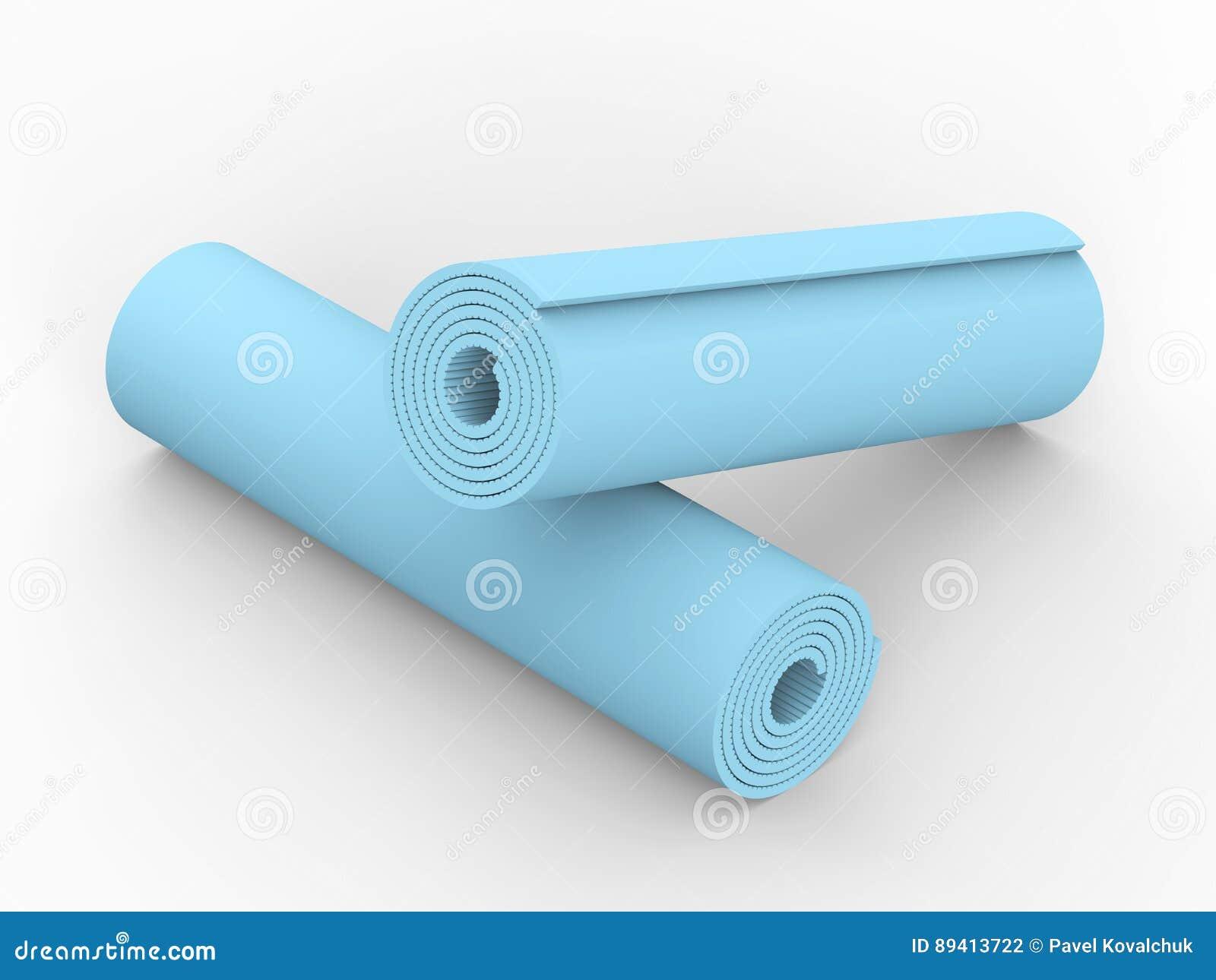 3D esteira da ioga do azul da ilustração dois