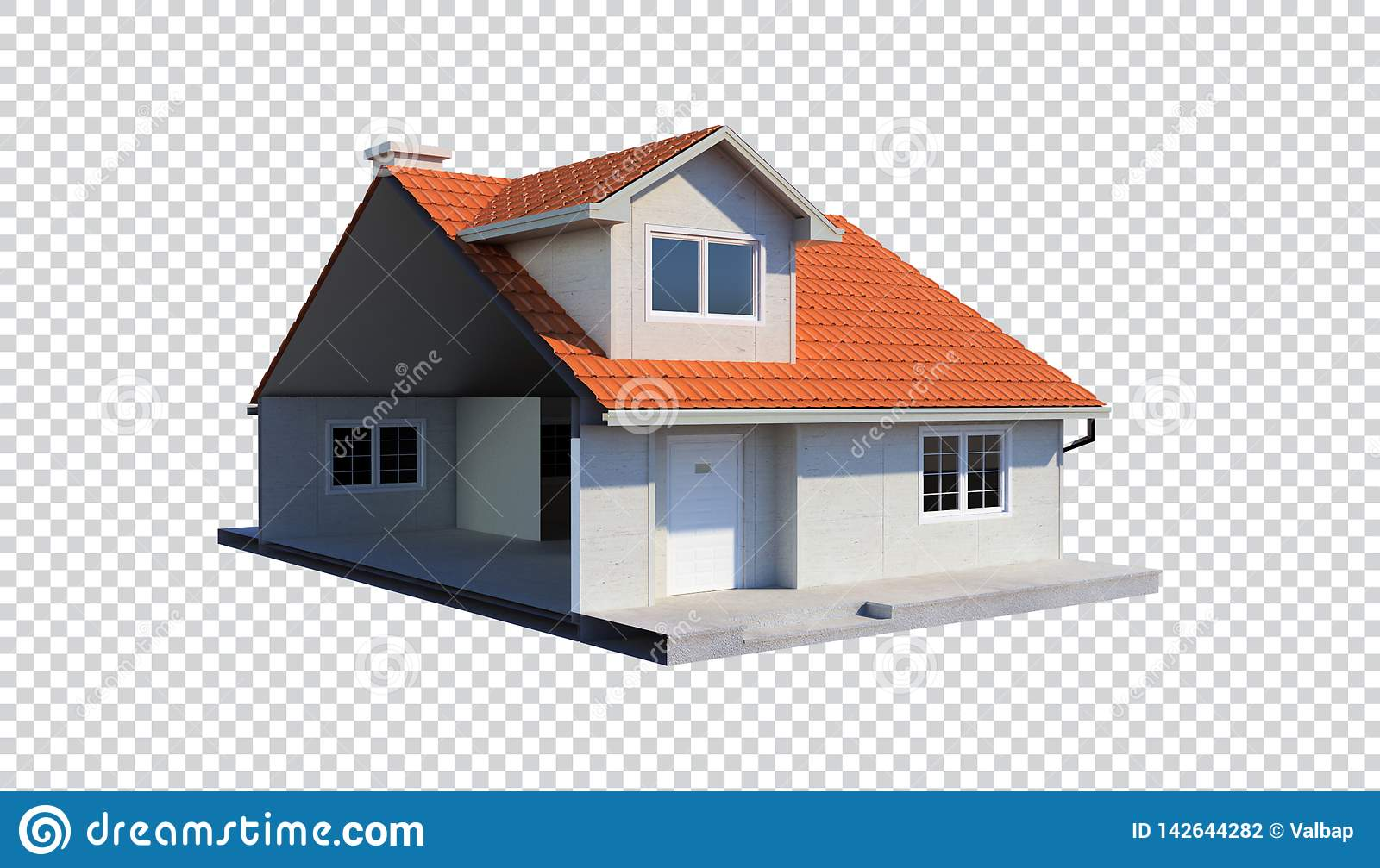 3d family house isolated transparent background trimmed in half