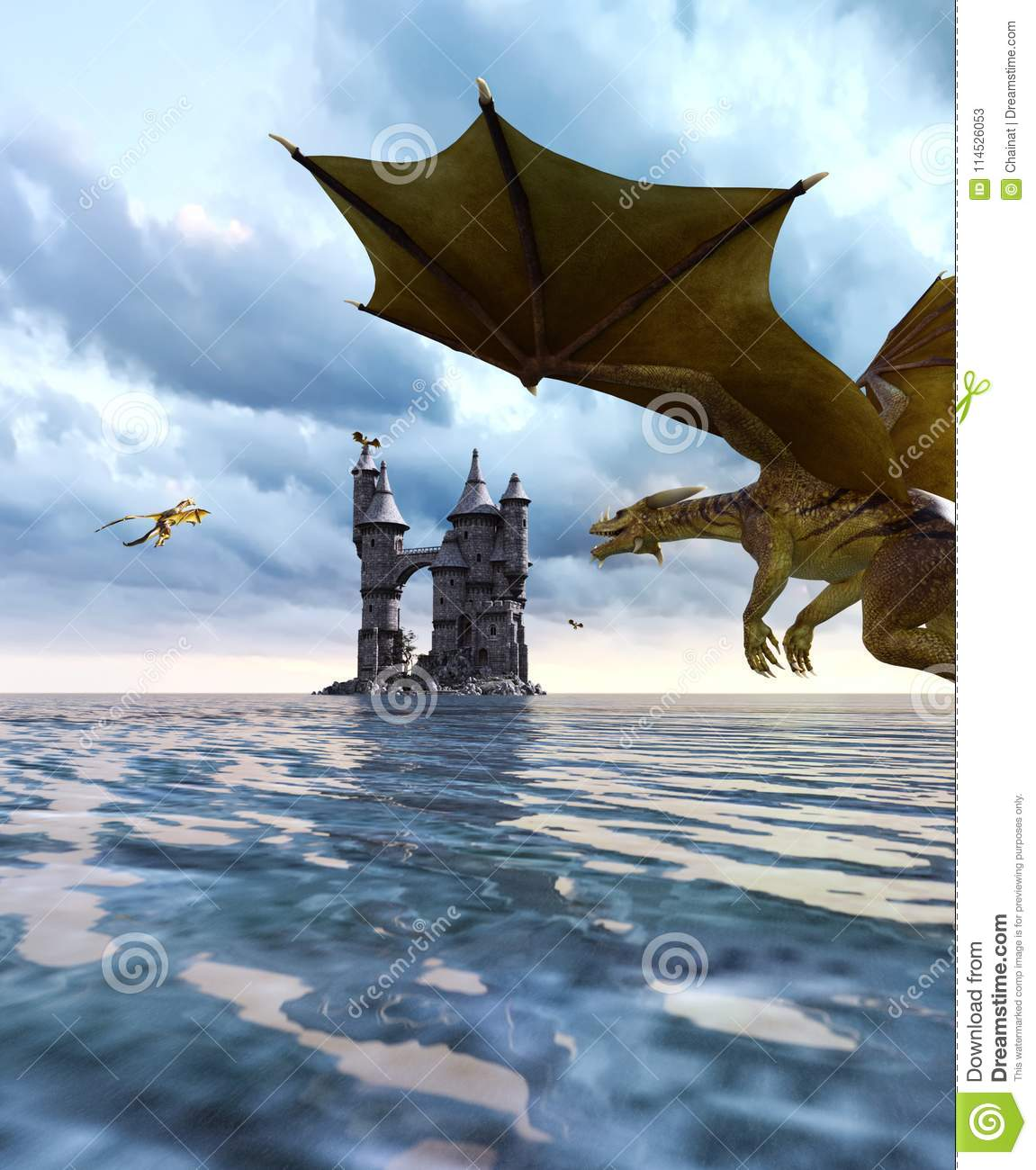 3d fantasy dragon in mythical island stock illustration