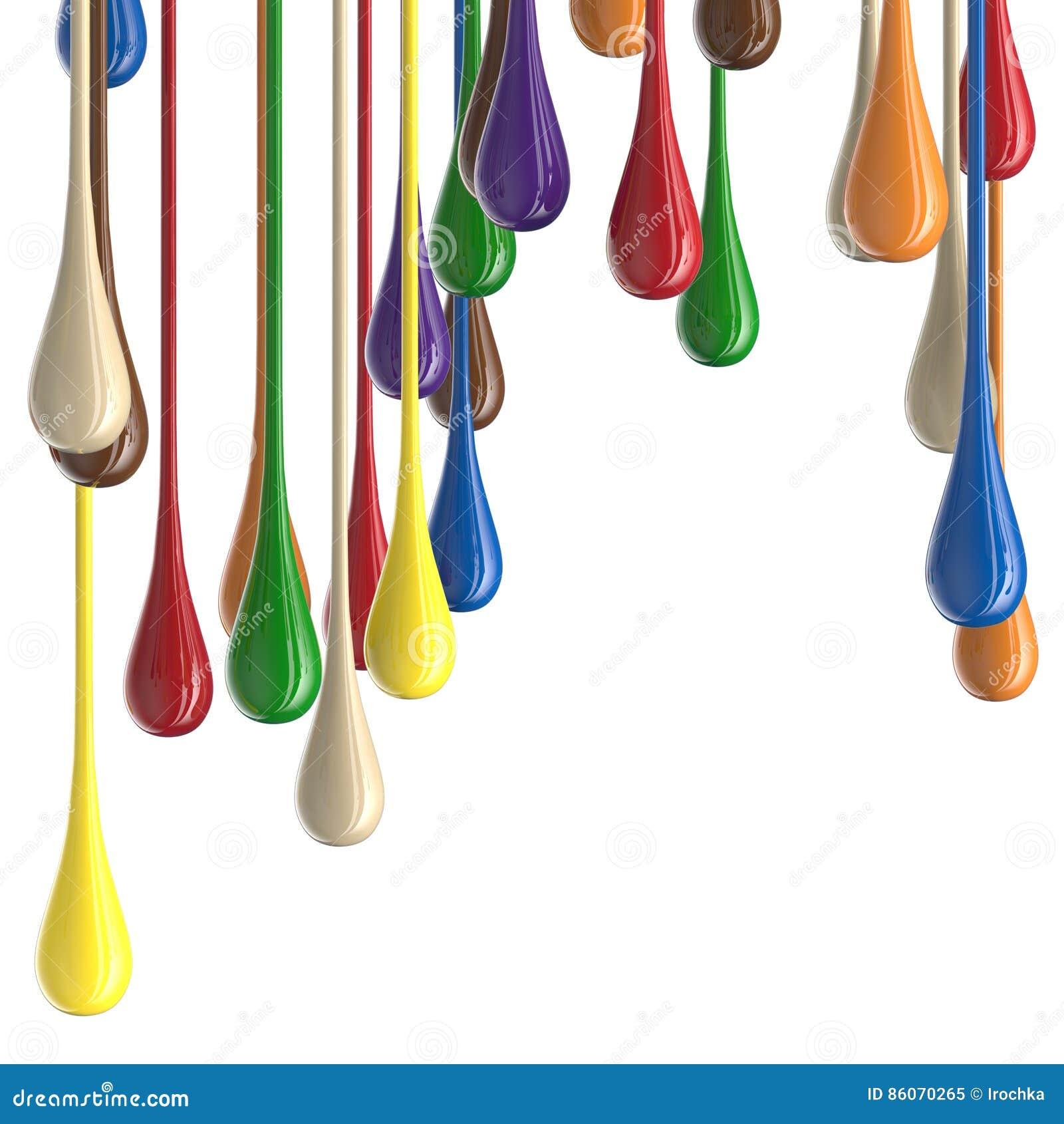 3D farby kropli multicolor kolorowe glansowane krople