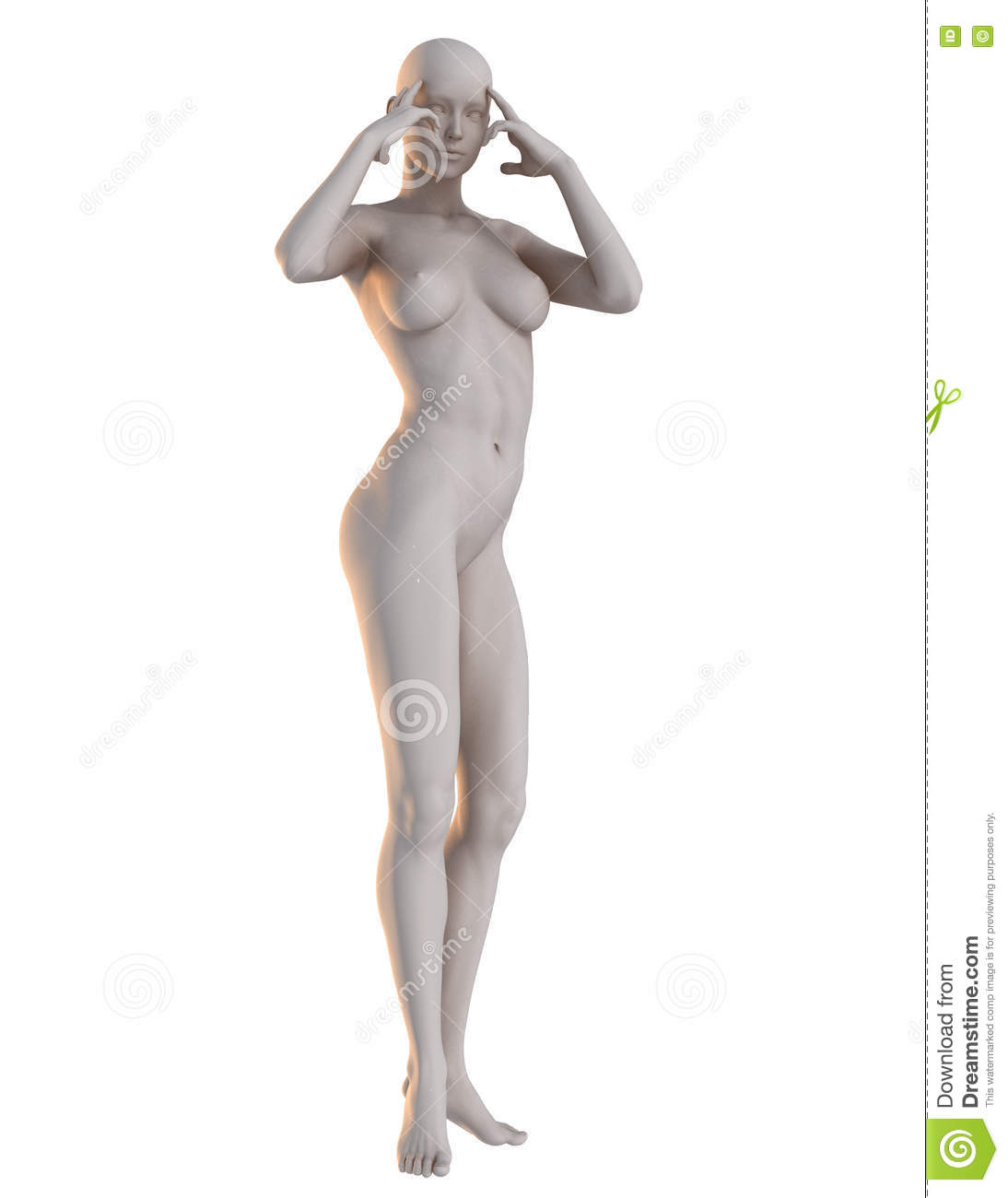 3d female pose reference telepathy stock photo illustration of