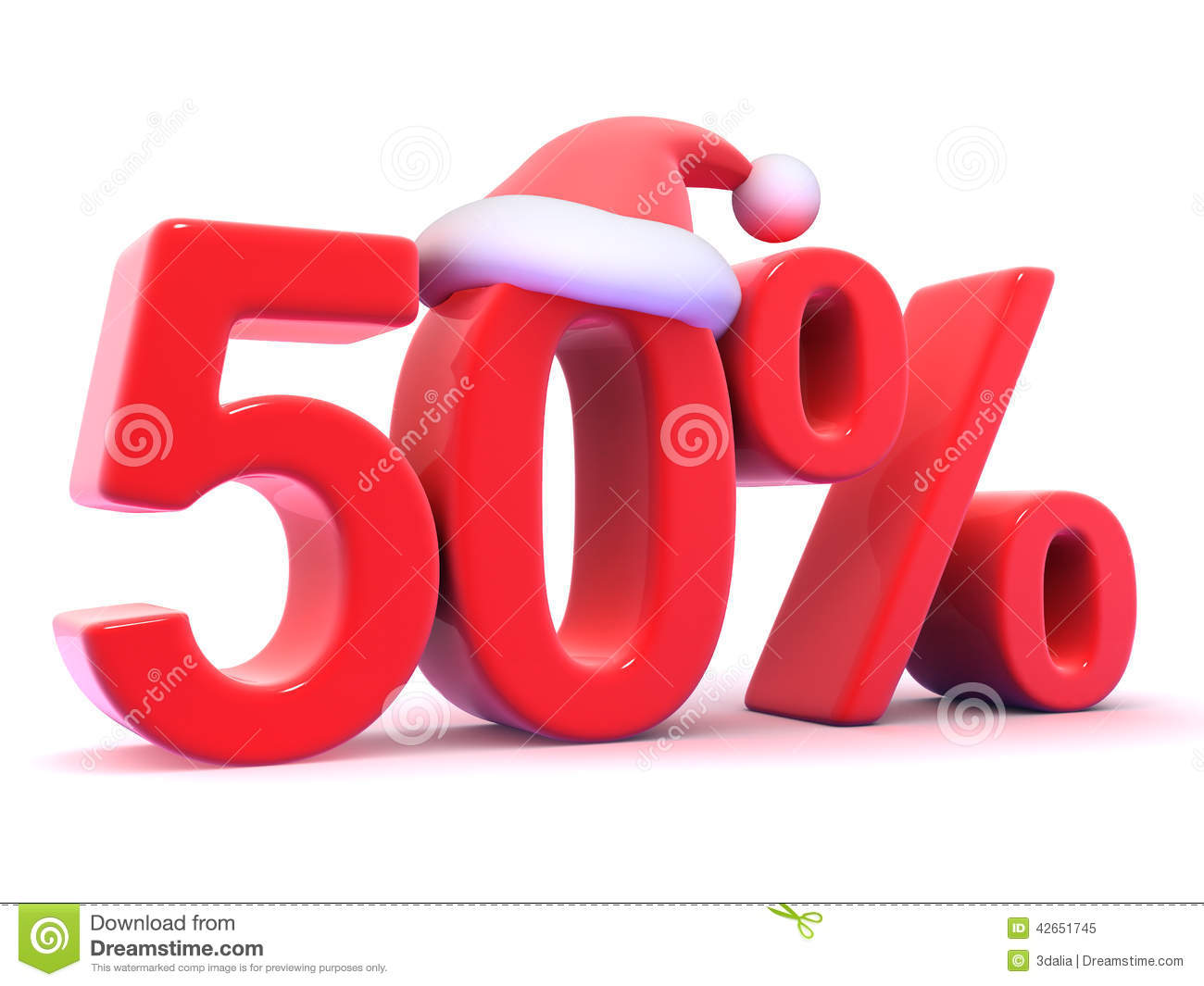 3d fifty percent christmas sale with santa hat stock illustration 3d fifty percent christmas sale with santa hat biocorpaavc