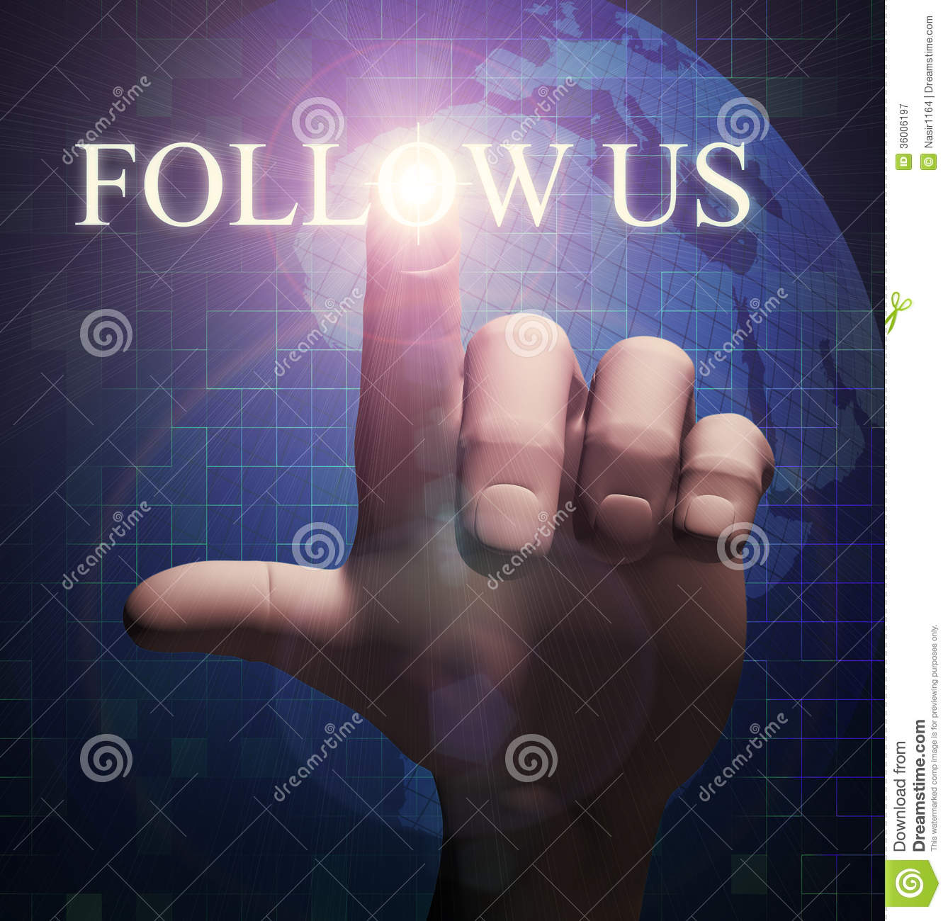 3d Finger Touching Follow Us Illustration Royalty Free