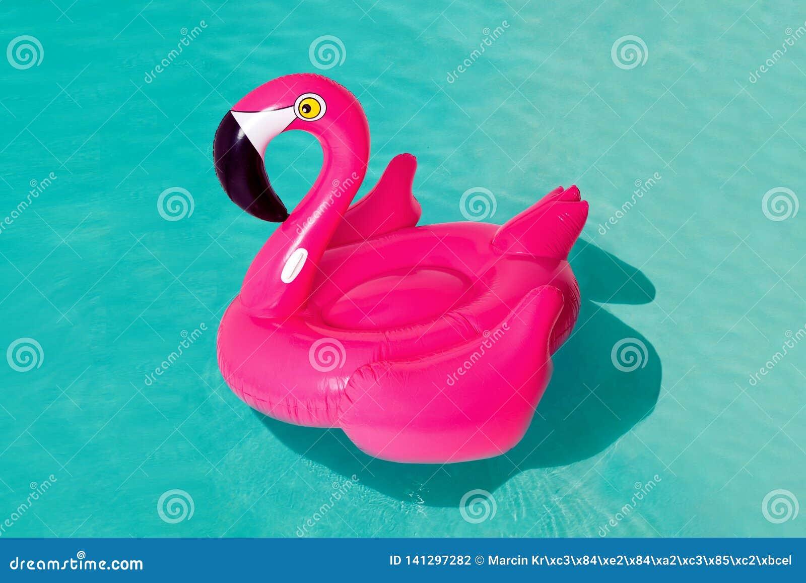 3d flamingo cor-de-rosa, anel inflável da piscina da forma tropical do pássaro, tubo, flutuador Objeto de borracha do feriado das