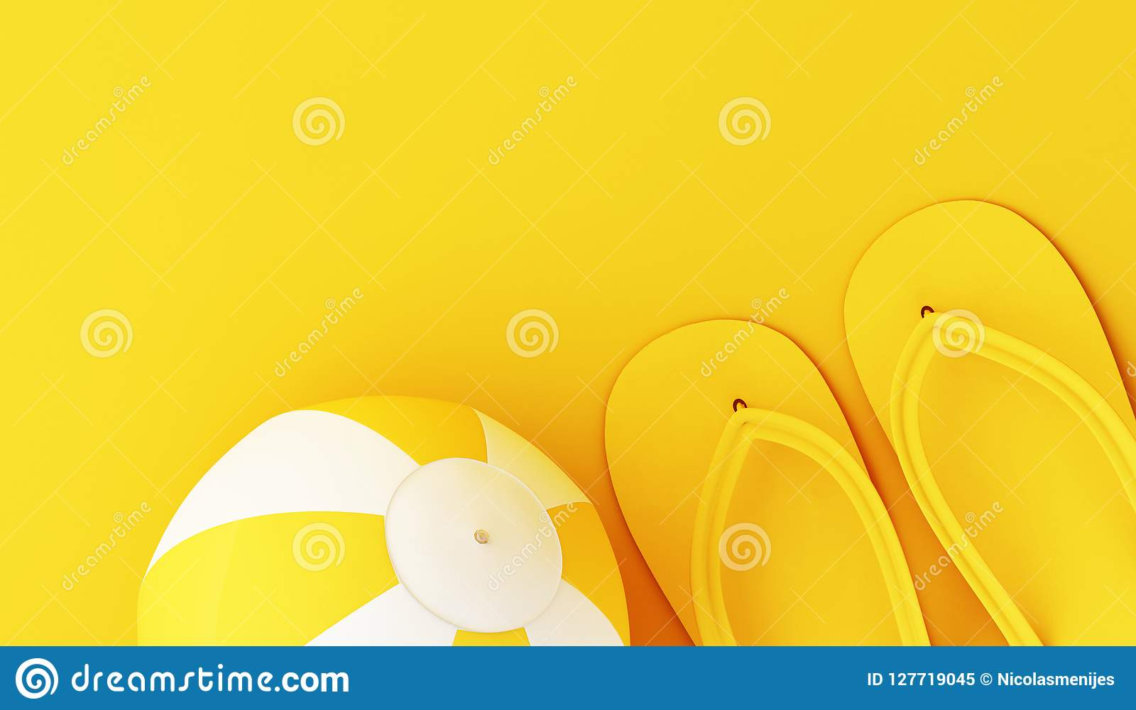 05d8a24d1 Flip flops and beach ball on yellow background. Minimal summer concept.