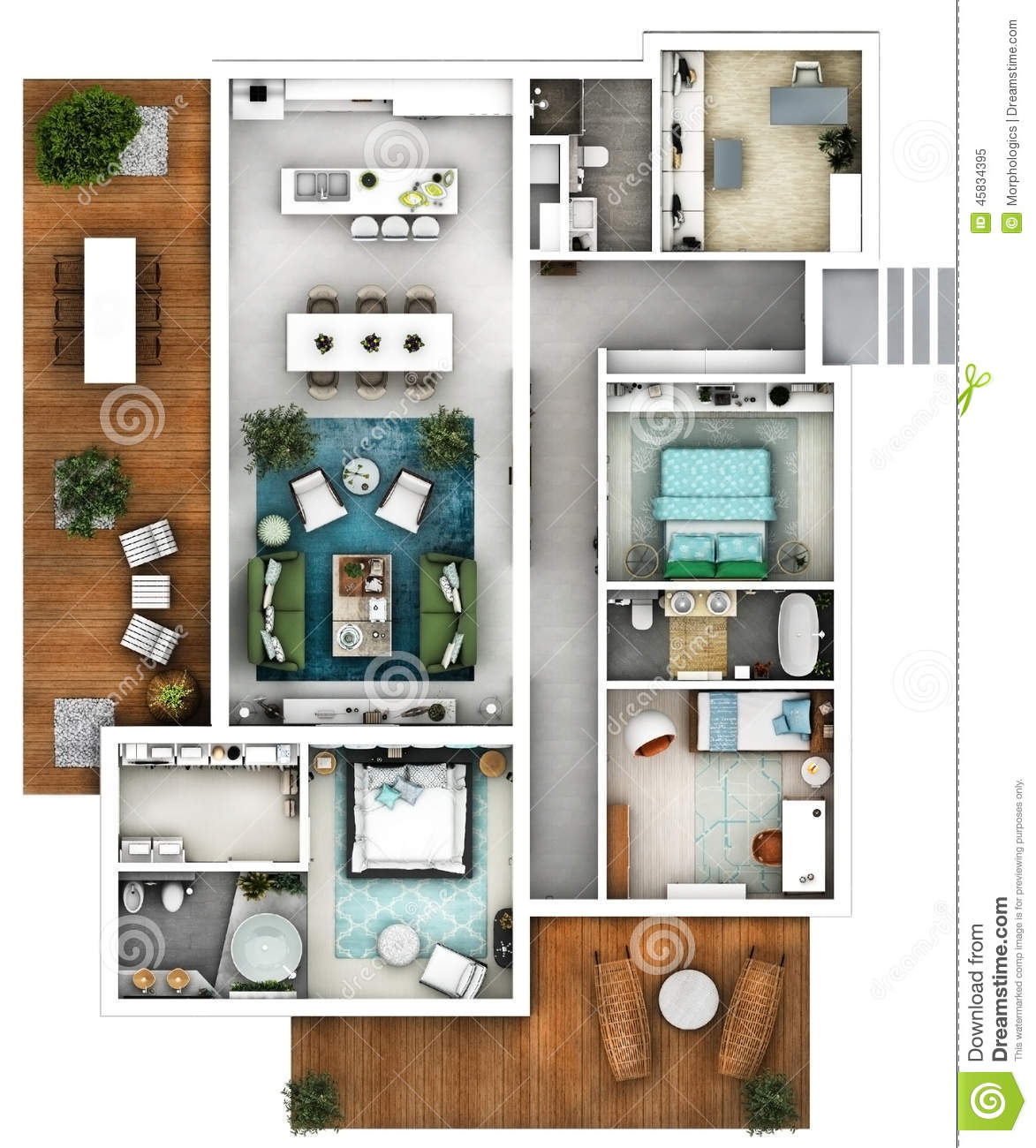 Plan Of A House With Big Living Dining Kitchen Three Bedrooms Office
