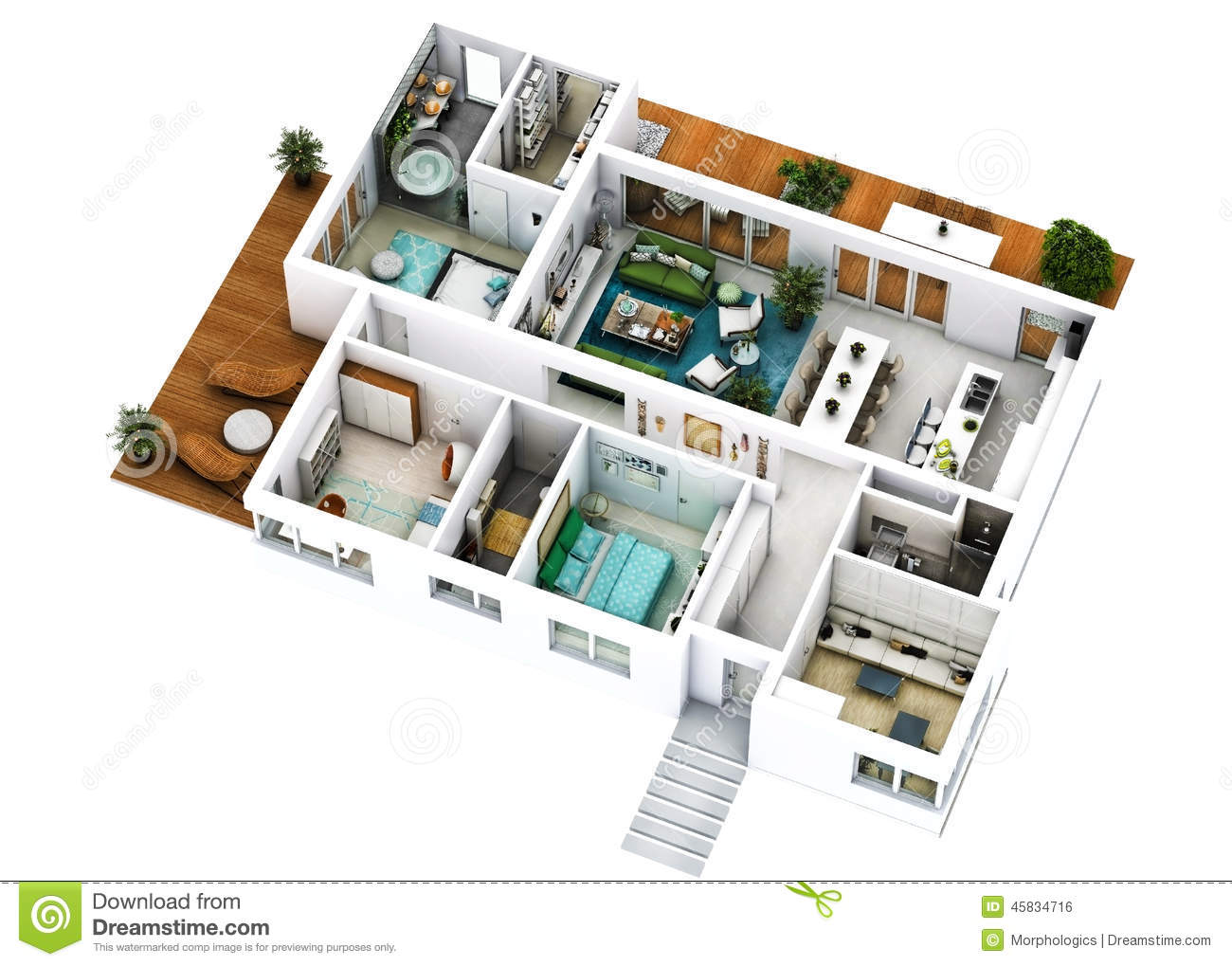 Big house plans 3d images galleries for Plan des villas modernes