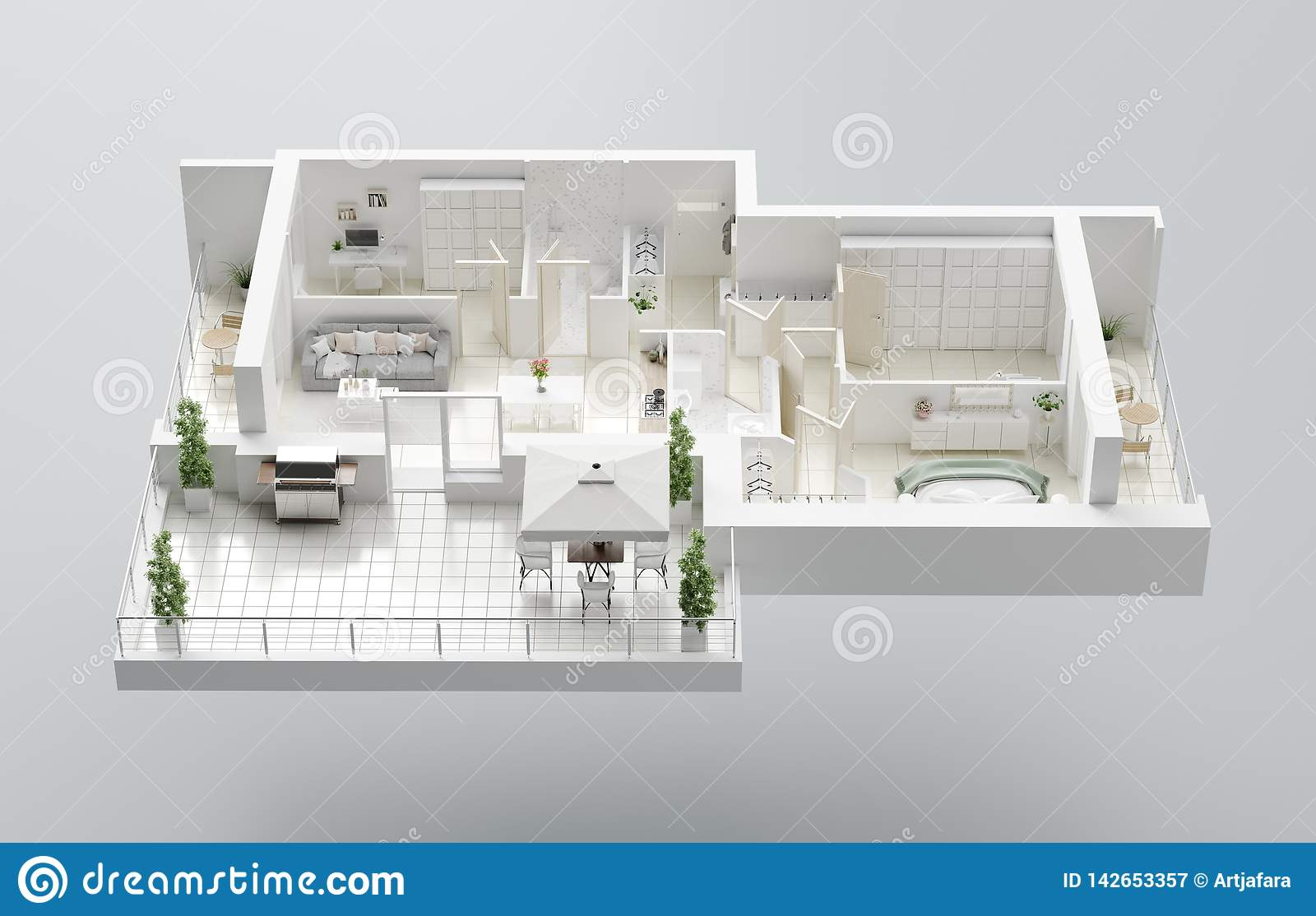 3d Floor Plan Of A Home Open Concept Living Apartment Layout Stock Illustration Illustration Of Architecture Layout 142653357