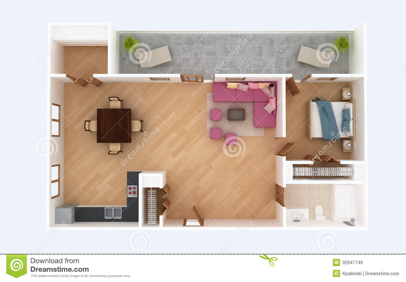 3D Floor Plan Section Apartment House Interior Overhead Top View Stock Illustration Image