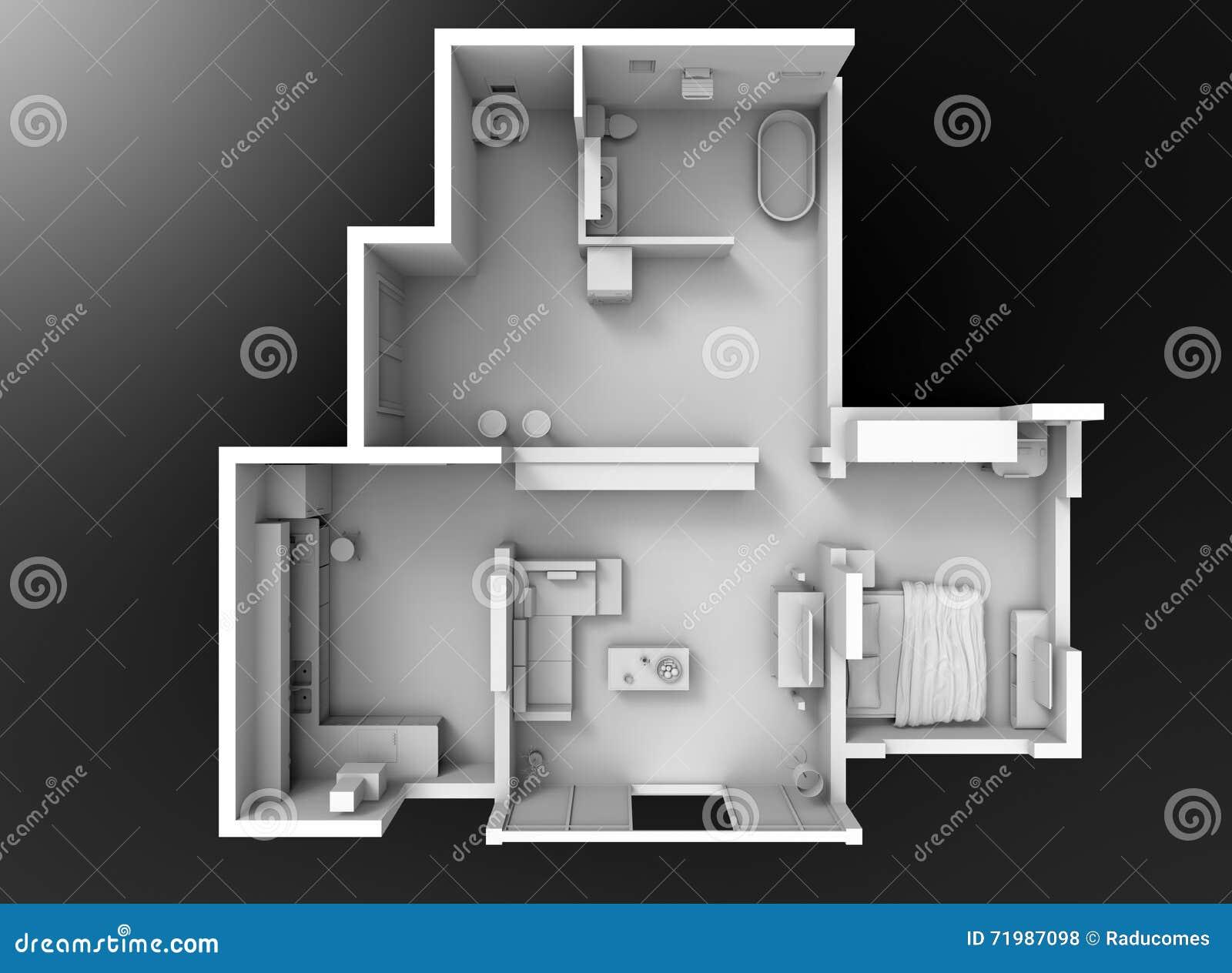 3d Floor Plan Section Stock Illustration Illustration Of Project 71987098