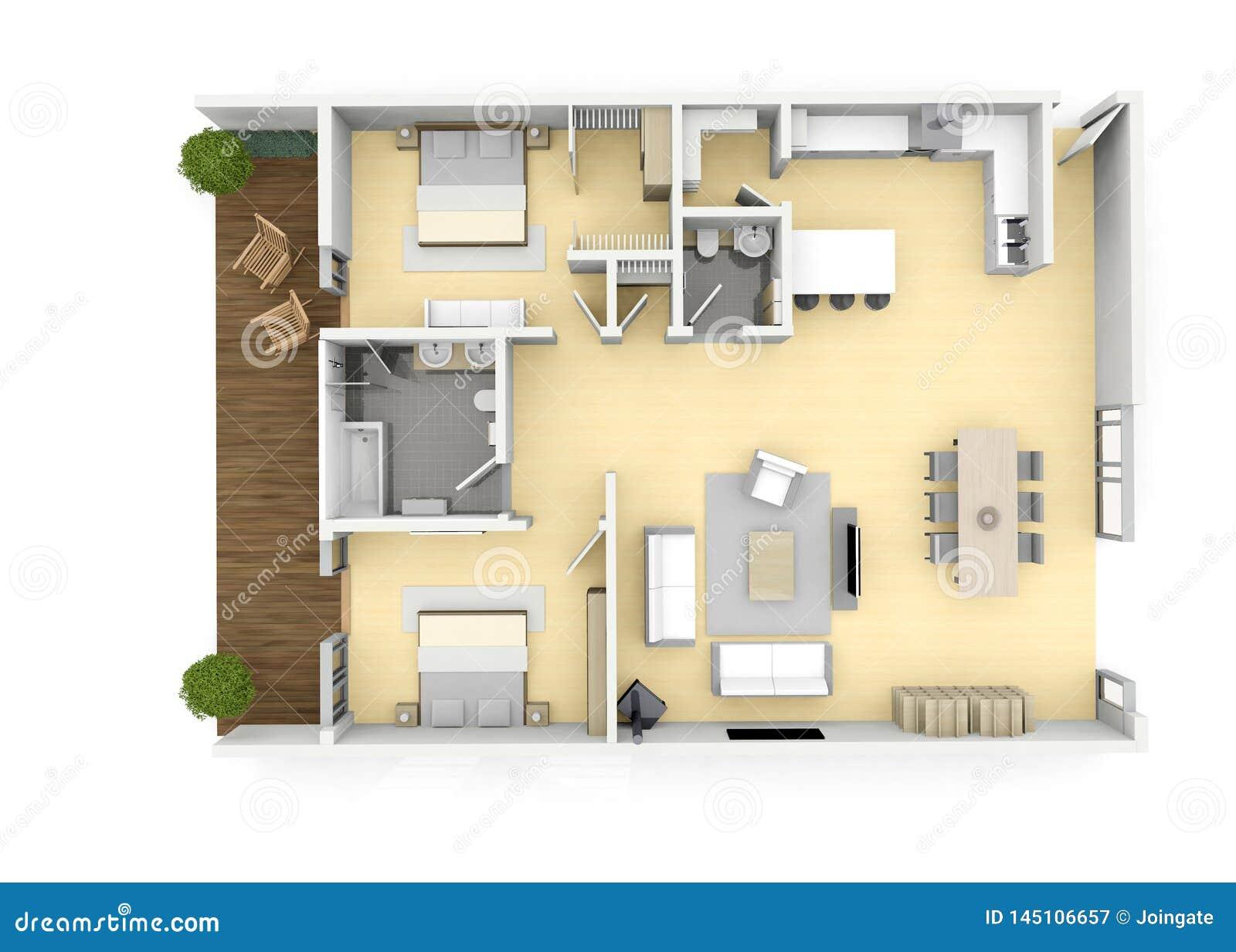 3d Floorplan From Above Birds Eye View Stock Illustration