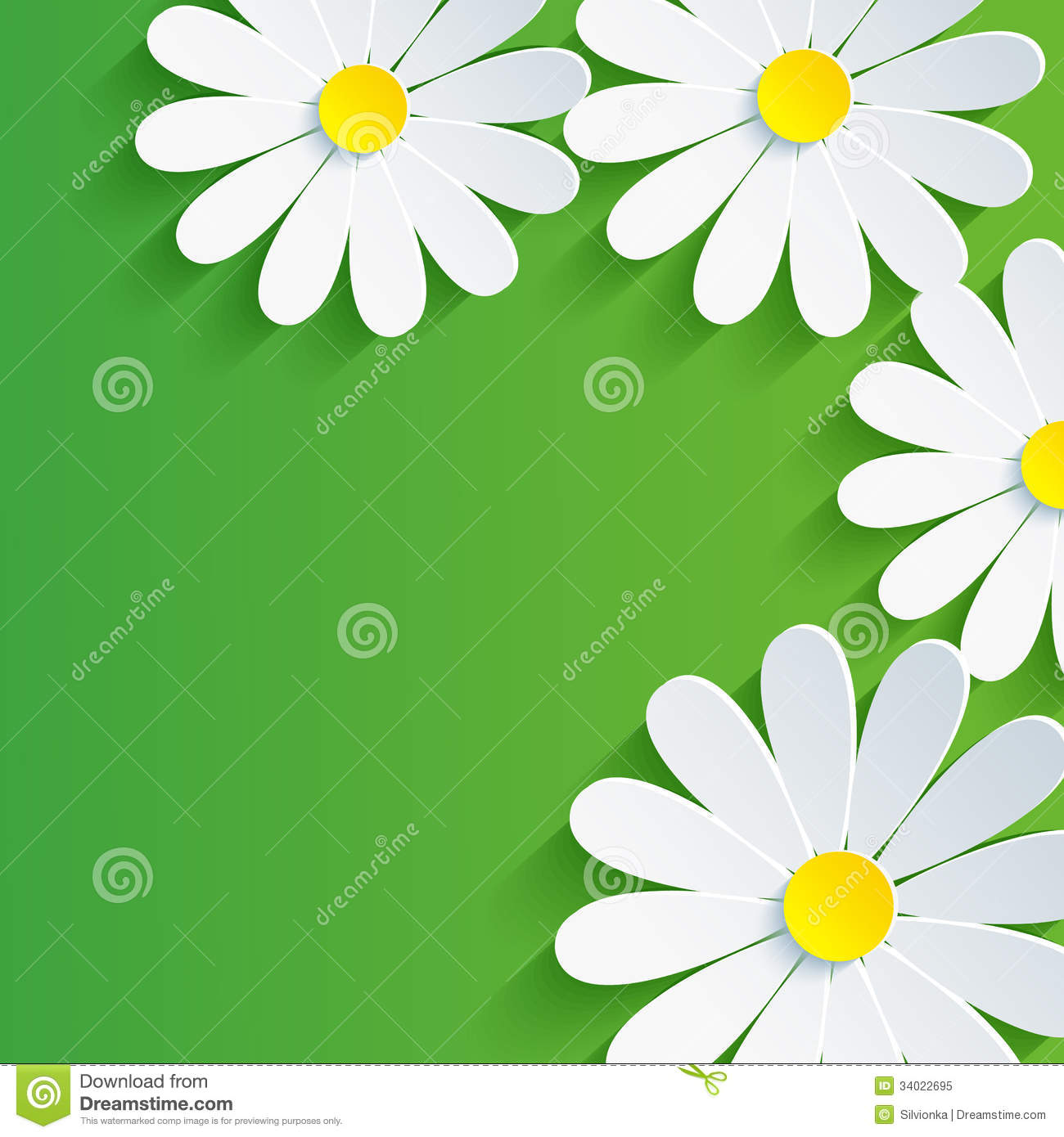 Spring Flower With Green Background Vector 02 Free Download: 3d Flower Chamomile, Spring Abstract Background Stock