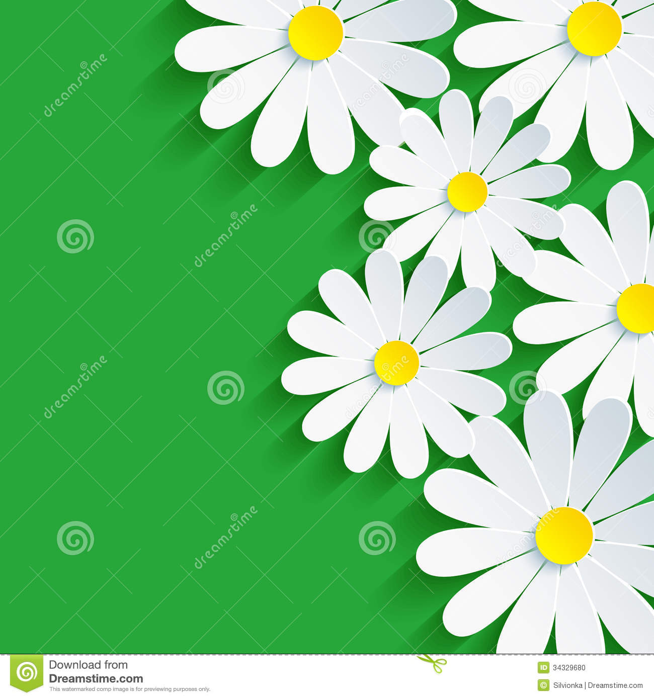 3d Flower Chamomile, Spring Background Abstract Stock