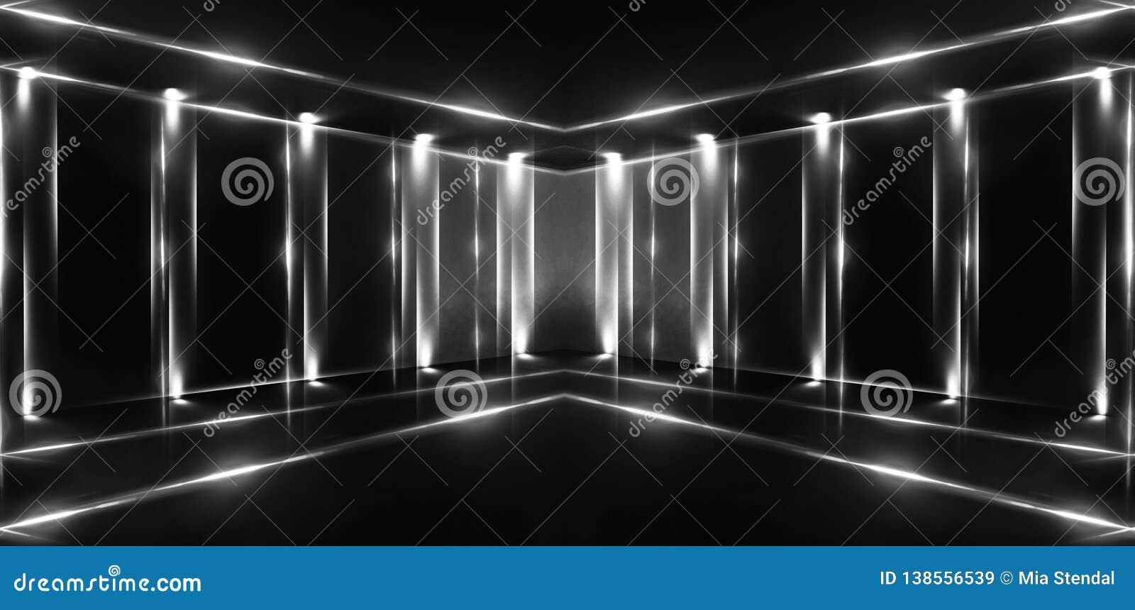 3d framför, abstrakt bakgrund, tunnelen, neonljus, virtuell verklighet, bågen, rosa blått, vibrerande färger, laser-showen som is