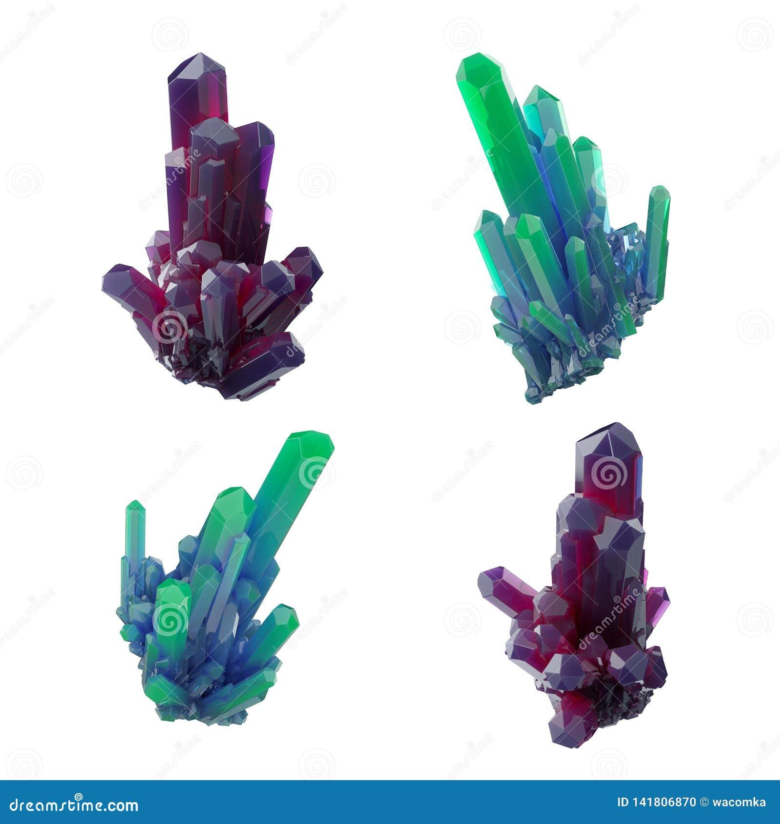 3d framför, abstrakta kristaller, perspektivsikten, rubinen och den gröna klumpen, den esoteriska designbeståndsdelen som isolera