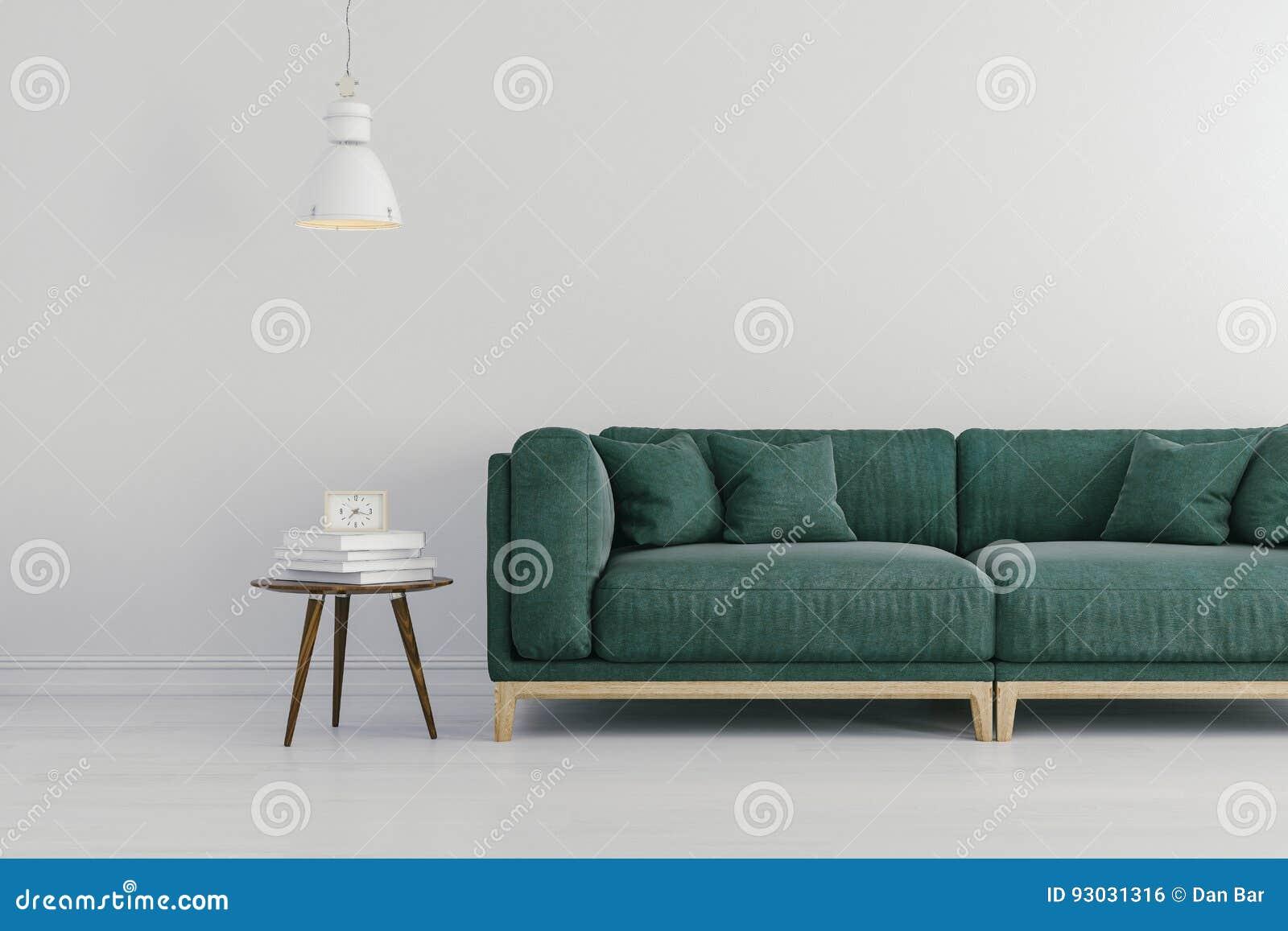 3d framför av härlig inre med den gröna soffan och vita väggar