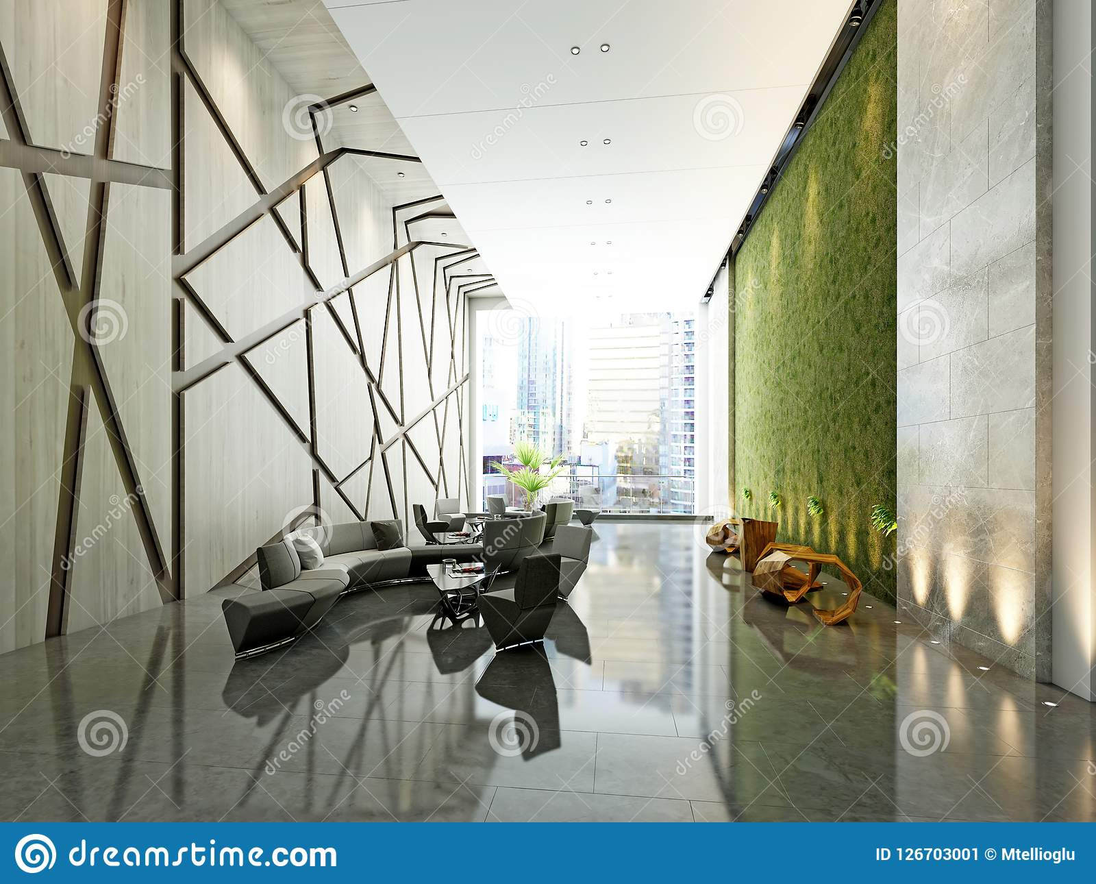 3d framför av modern hotelllobby