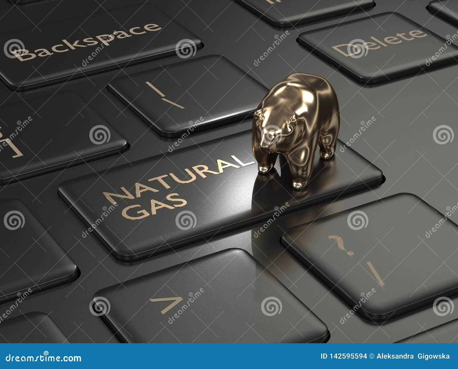 3d framför av tangentbordet med den naturgasknappen och björnen