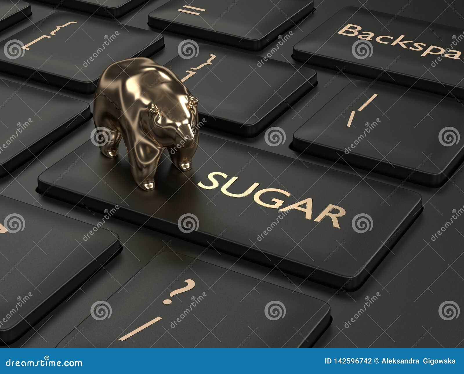 3d framför av tangentbordet med den sockerknappen och björnen