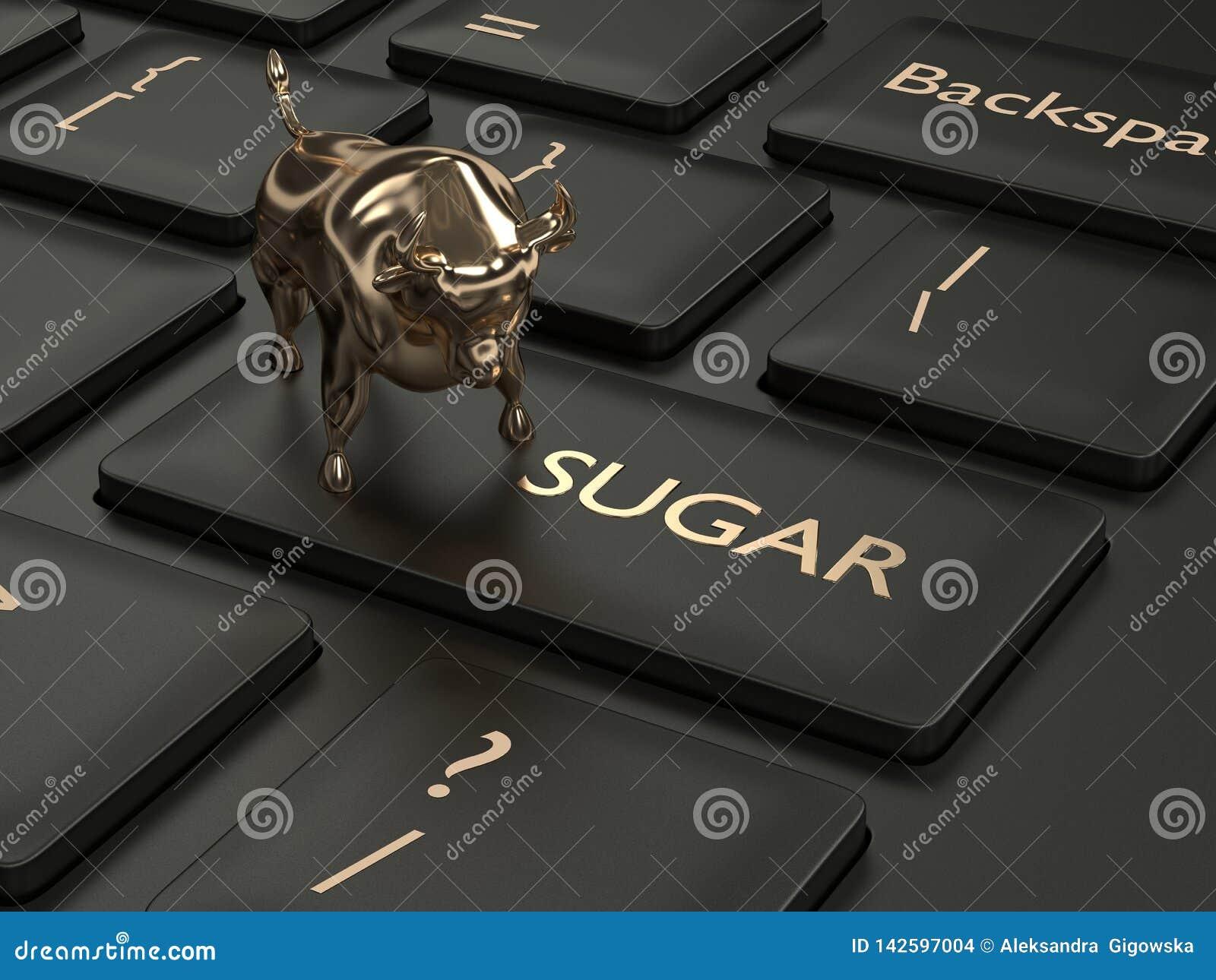 3d framför av tangentbordet med den sockerknappen och tjuren