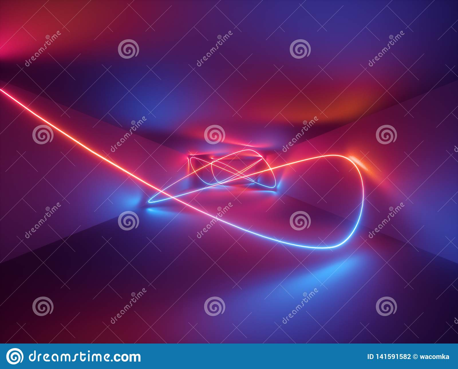3d framför, laser-showen, inre ljus för nattklubben, rött blått neon, abstrakt fluorescerande bakgrund, glödande curvy linjer som