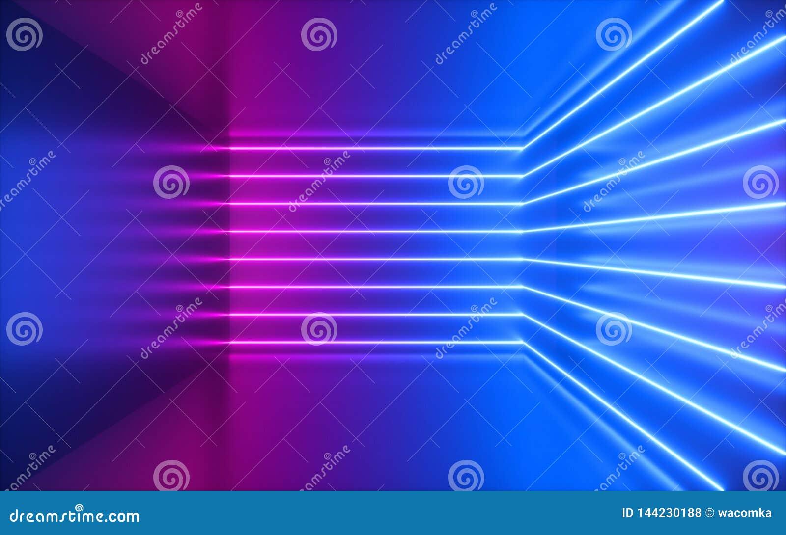 3d framför, rosa neonlinjer, hörn inom tomt rum, faktiskt utrymme, ultraviolett ljus, 80-talstil, retro diskoklubbainre,