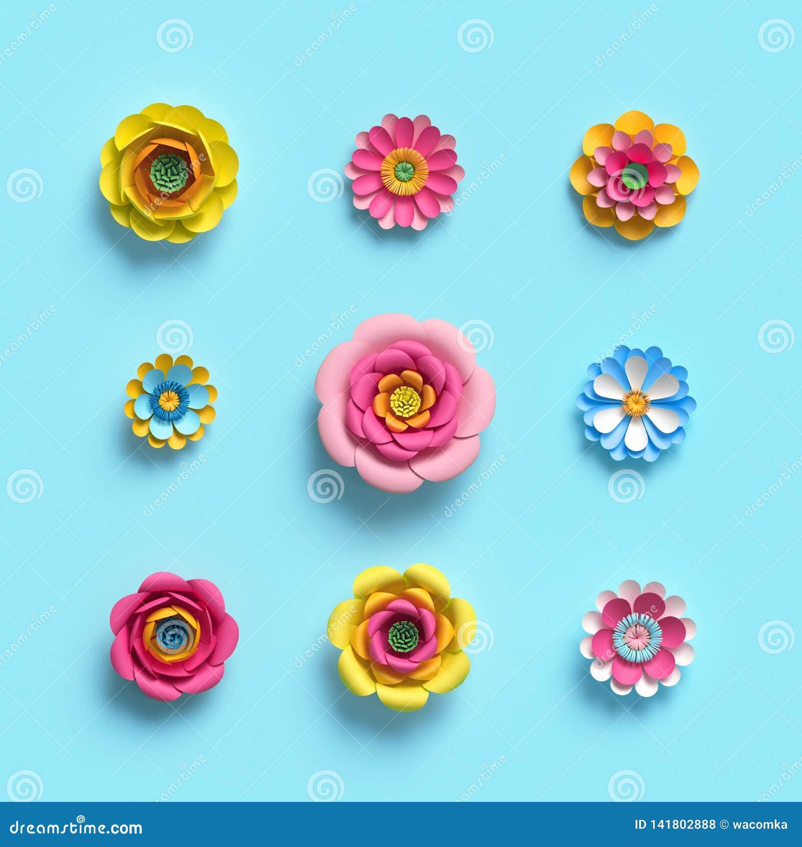 3d framför, tillverkar pappers- blommor, den blom- uppsättningen för gemkonst, botaniska designbeståndsdelar, godisfärg som isole