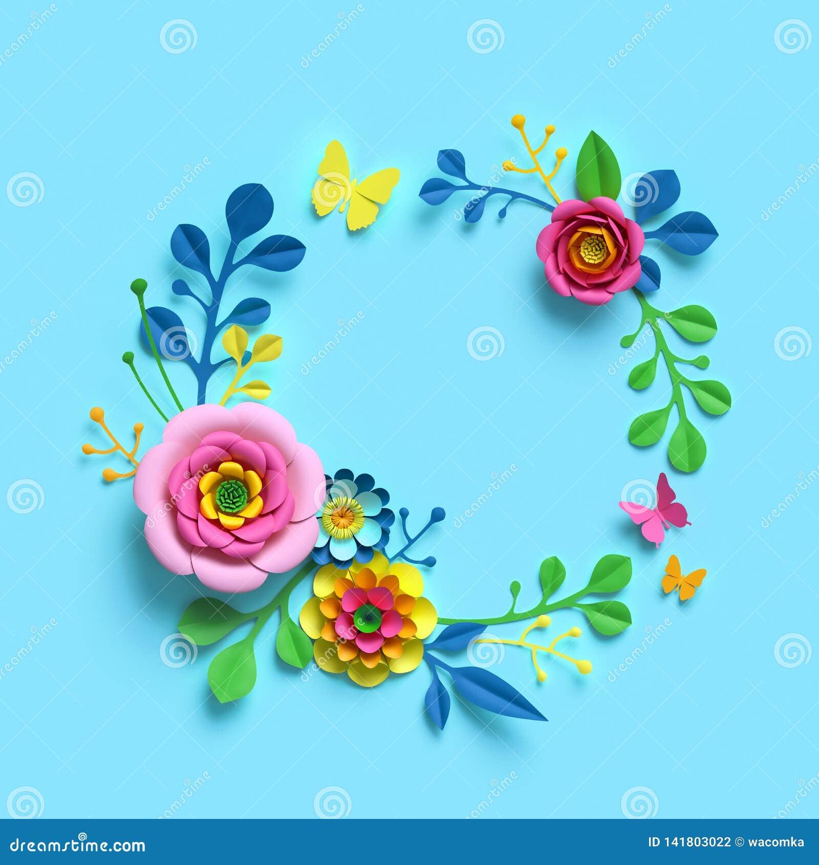 3d framför, tillverkar pappers- blommor, den runda blom- kransen, den botaniska ordningen, ramen för tomt utrymme, godisfärger, n