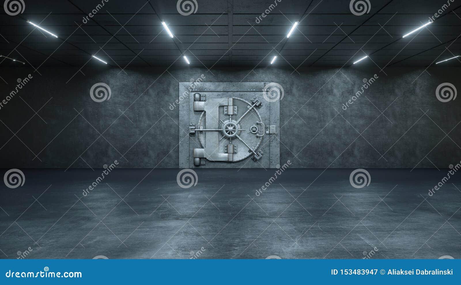 3d framför valvdörren i banken